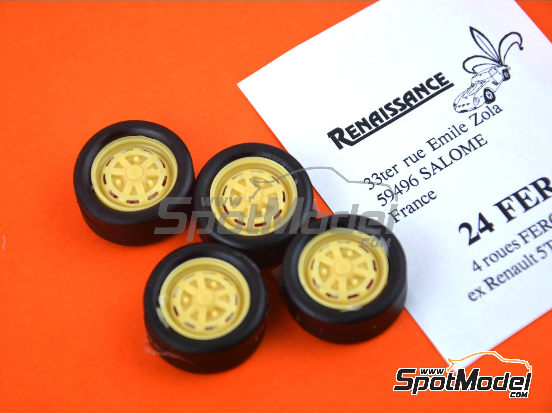 Image 3: Renault R5 R12 Fergat 13 inches | Rims and tyres set in 1/24 scale manufactured by Renaissance Models (ref. 24FERG)