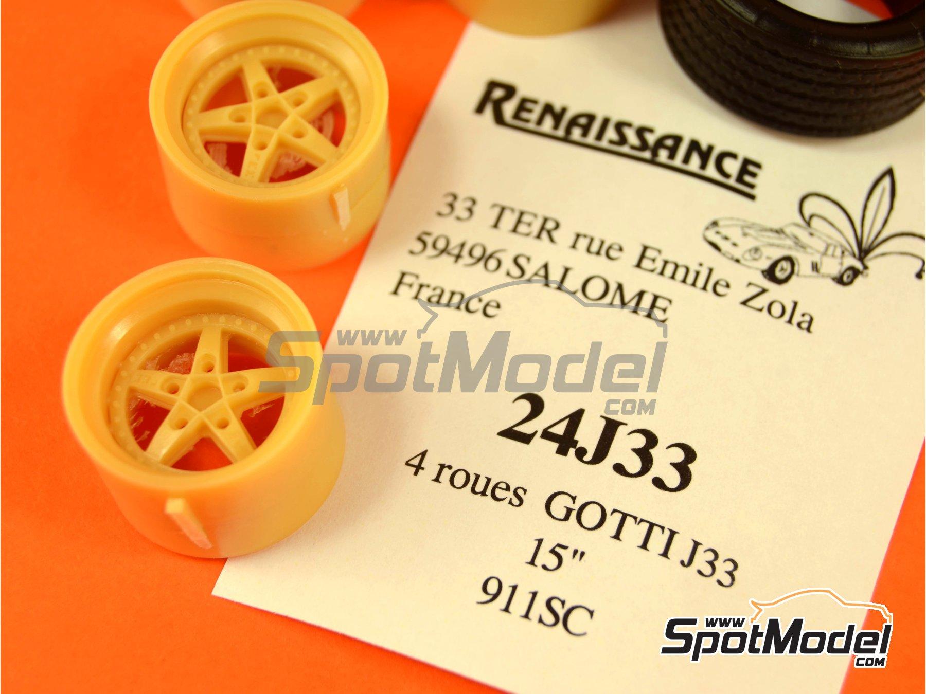 Image 4: Gotti J33 de 15 pulgadas para Porsche 911 SC | Set de llantas y neumáticos en escala1/24 fabricado por Renaissance Models (ref.24J33)