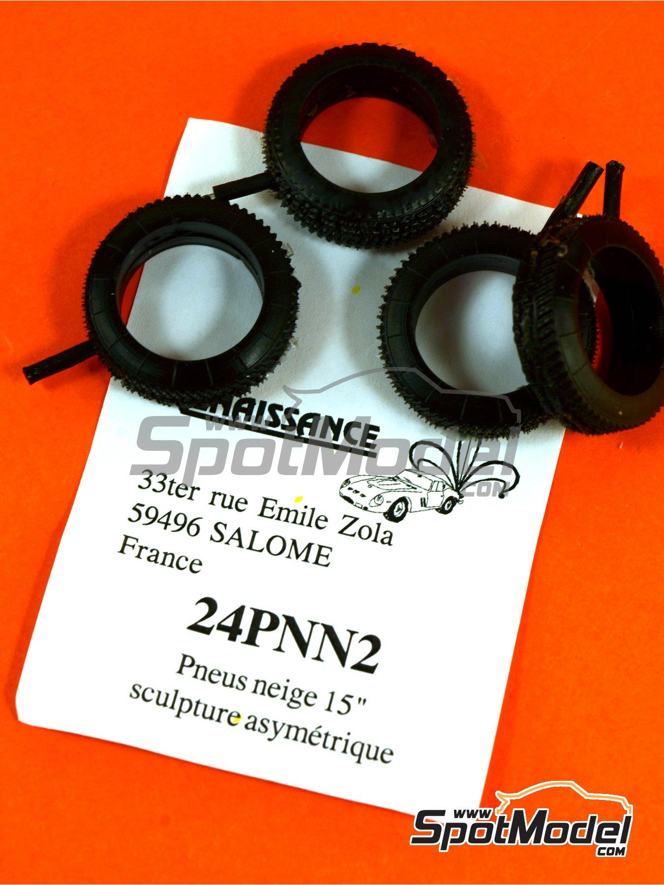 Neumáticos asimétricos de nieve de 15 pulgadas   Neumáticos en escala1/24 fabricado por Renaissance Models (ref.24PNN2) image