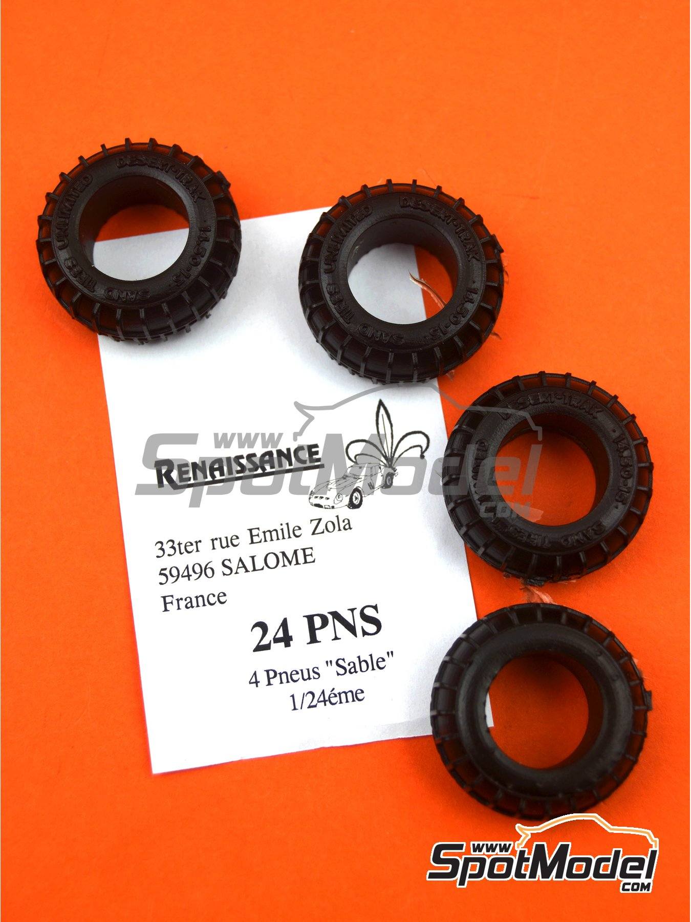 Sand tyres | Tyre set in 1/24 scale manufactured by Renaissance Models (ref. 24PNS) image