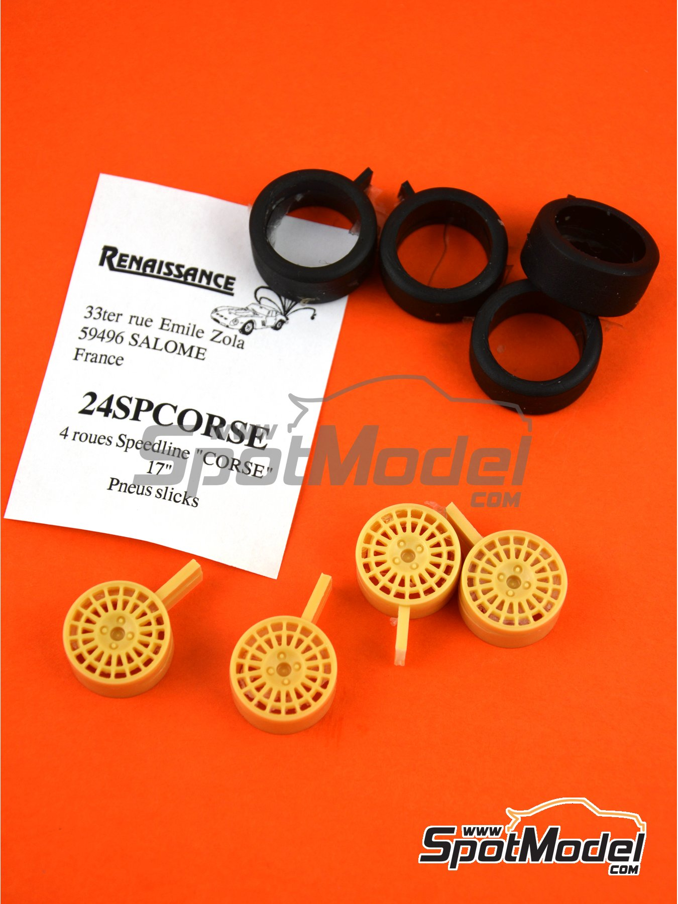 Speedline 17 inches 4 nuts | Rims and tyres set in 1/24 scale manufactured by Renaissance Models (ref. 24SPCORSE) image
