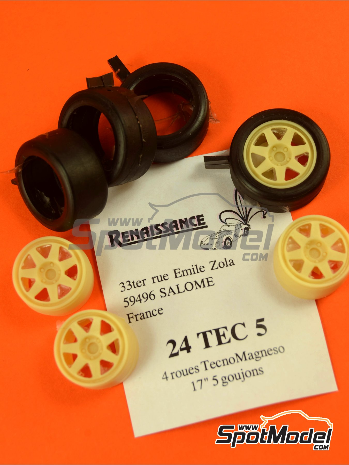 TecnoMagnesio 17 inches 5 nut rims and slicks tyres | Rims and tyres set in 1/24 scale manufactured by Renaissance Models (ref. 24TEC5) image