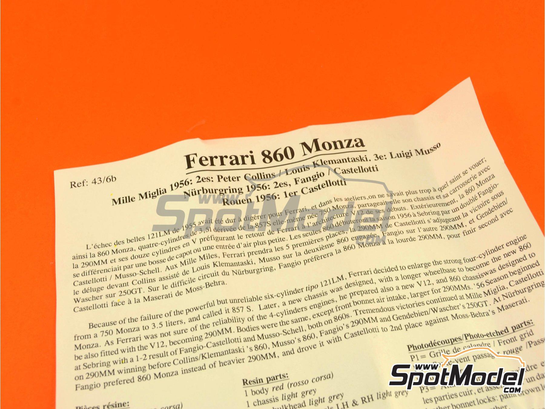 Image 1: Ferrari 860 Monza - Mile Miglia 1956 | Model car kit in 1/43 scale manufactured by Renaissance Models (ref.43-06B, also 43/06B)