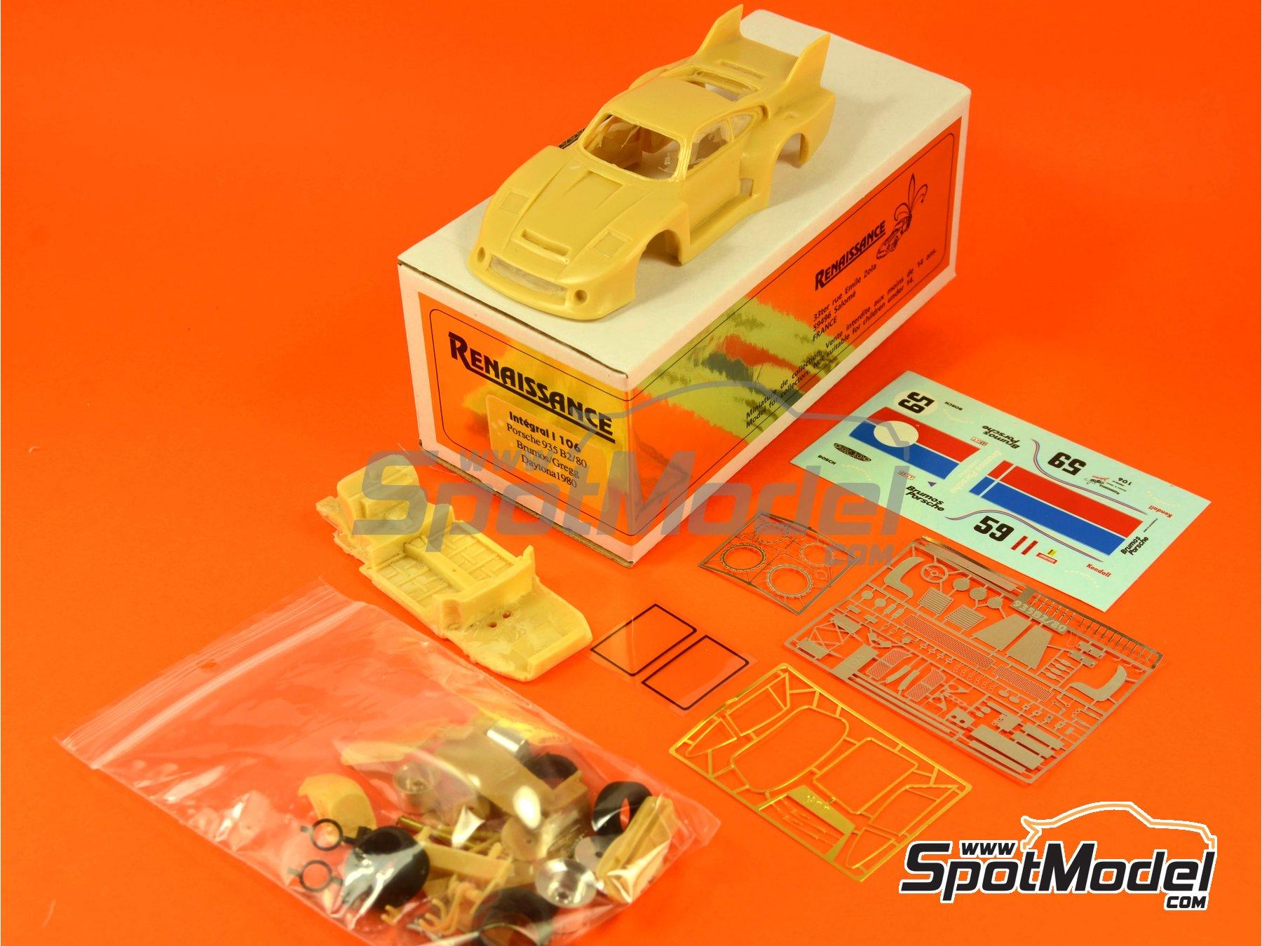 Image 1: Porsche 935 B2/80 Brumos - 24 Hours of Daytona 1980   Model car kit in 1/43 scale manufactured by Renaissance Models (ref.43-106)