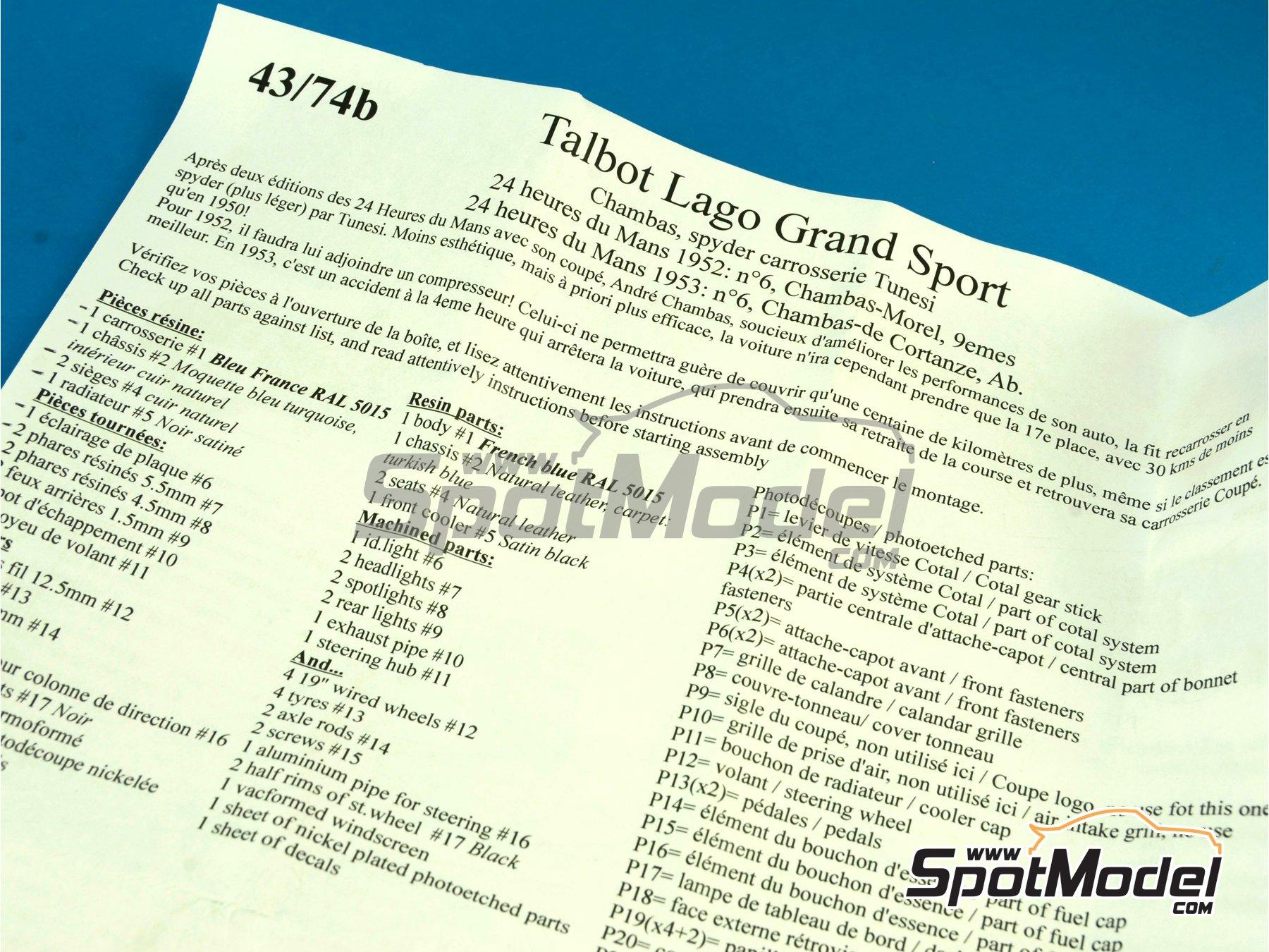 Image 13: Talbot Lago Grand Sport Spyder - 24 Horas de Le Mans 1952 y 1953 | Maqueta de coche en escala1/43 fabricado por Renaissance Models (ref.43-74B, tambien 43/74B)