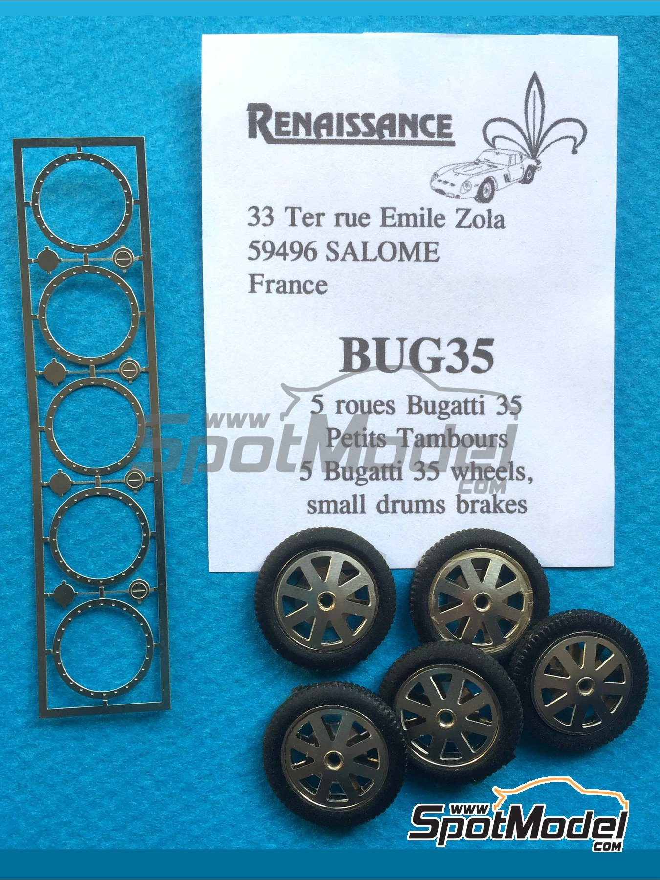 Bugatti 35 rims and tyres with small brake | Rims and tyres set in 1/43 scale manufactured by Renaissance Models (ref. BUG35) image