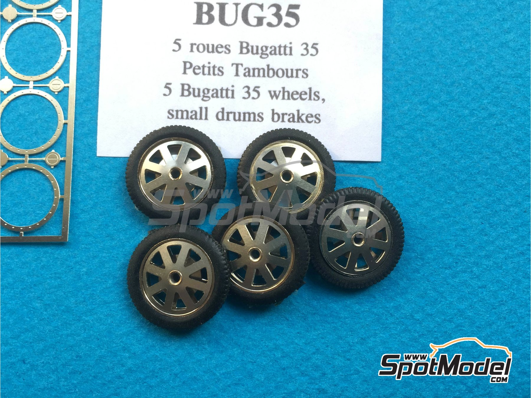 Image 1: Bugatti 35 rims and tyres with small brake | Rims and tyres set in 1/43 scale manufactured by Renaissance Models (ref. BUG35)