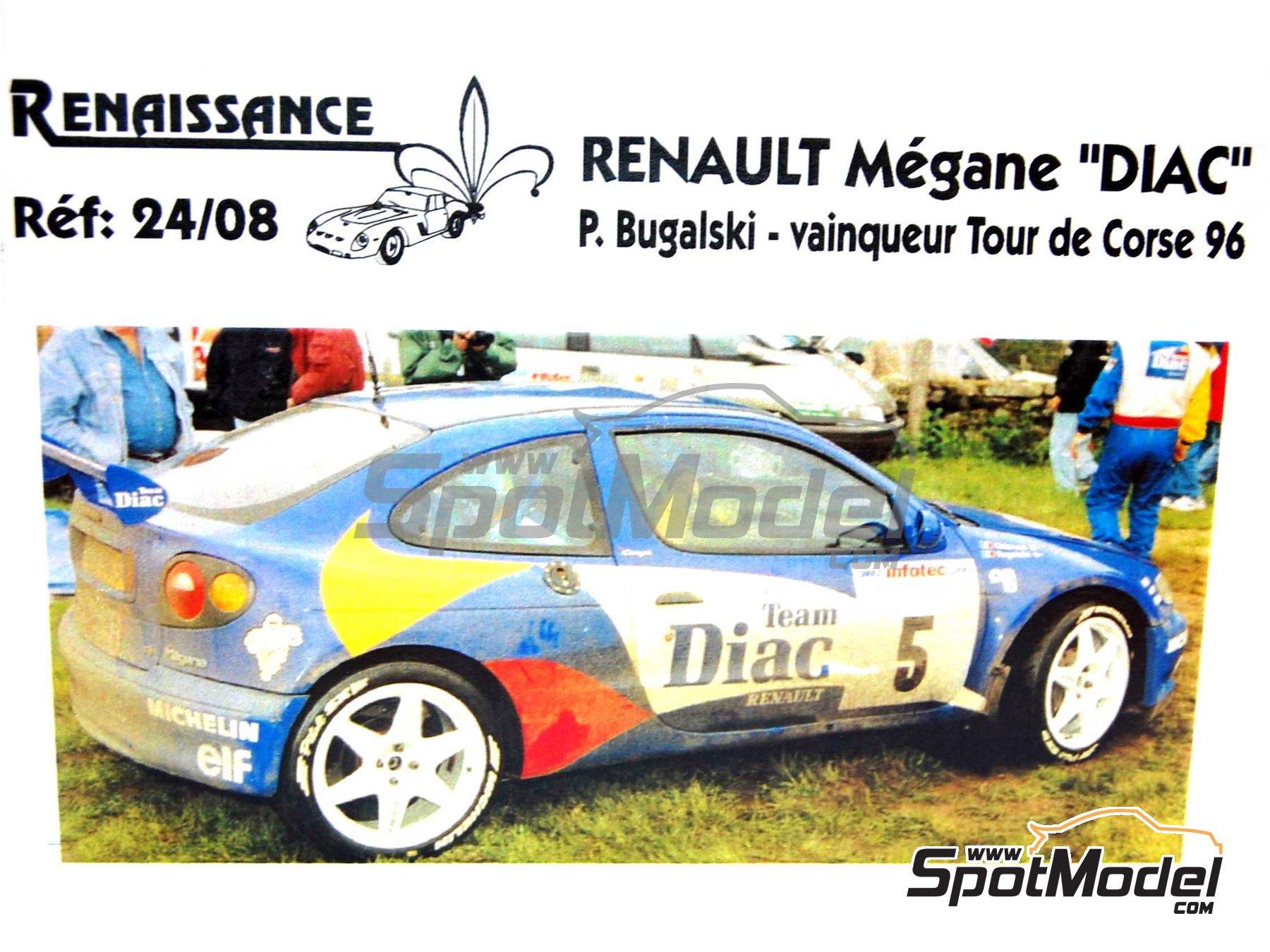 Image 2: Renault Megane Maxi Diac - Tour de Corse 1996 | Model car kit in 1/24 scale manufactured by Renaissance Models (ref.CTR2408)