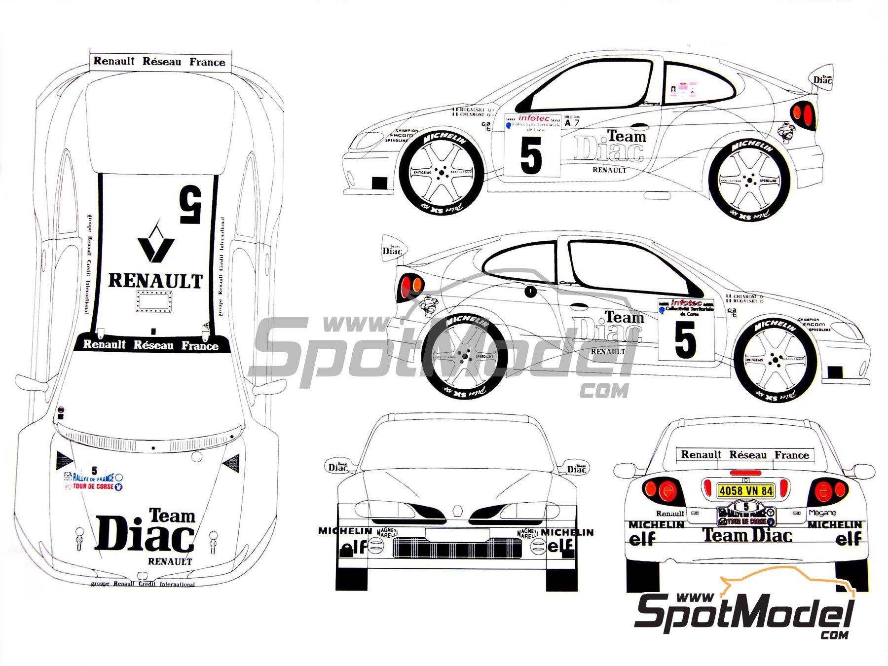 Image 14: Renault Megane Maxi Diac - Tour de Corse 1996 | Model car kit in 1/24 scale manufactured by Renaissance Models (ref.CTR2408)