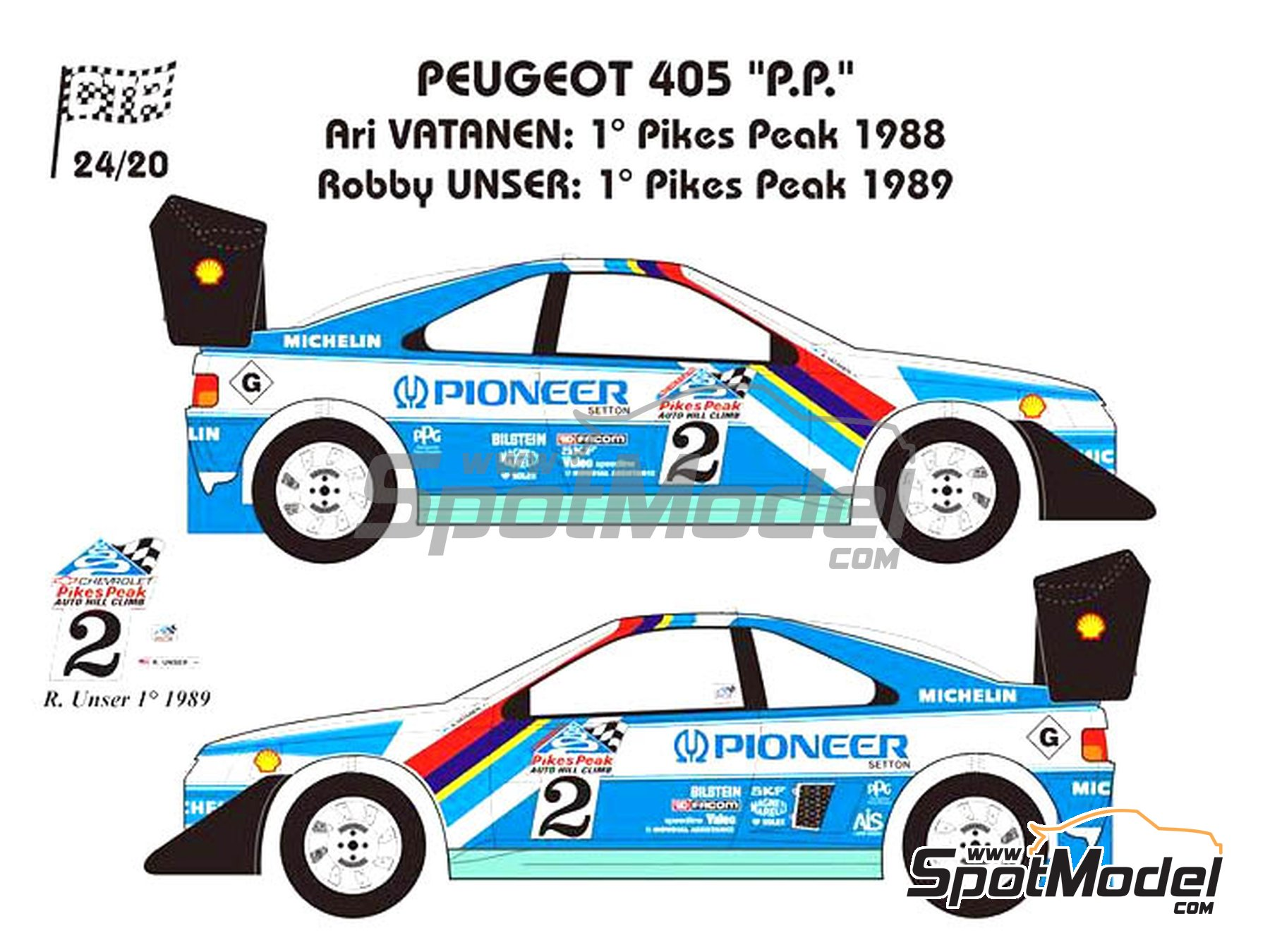 Image 1: Peugeot 405 T16 Pioneer - Pikes Peak Climb Hill Race 1988 and 1989 | Model car kit in 1/24 scale manufactured by Renaissance Models (ref.CTR2420)