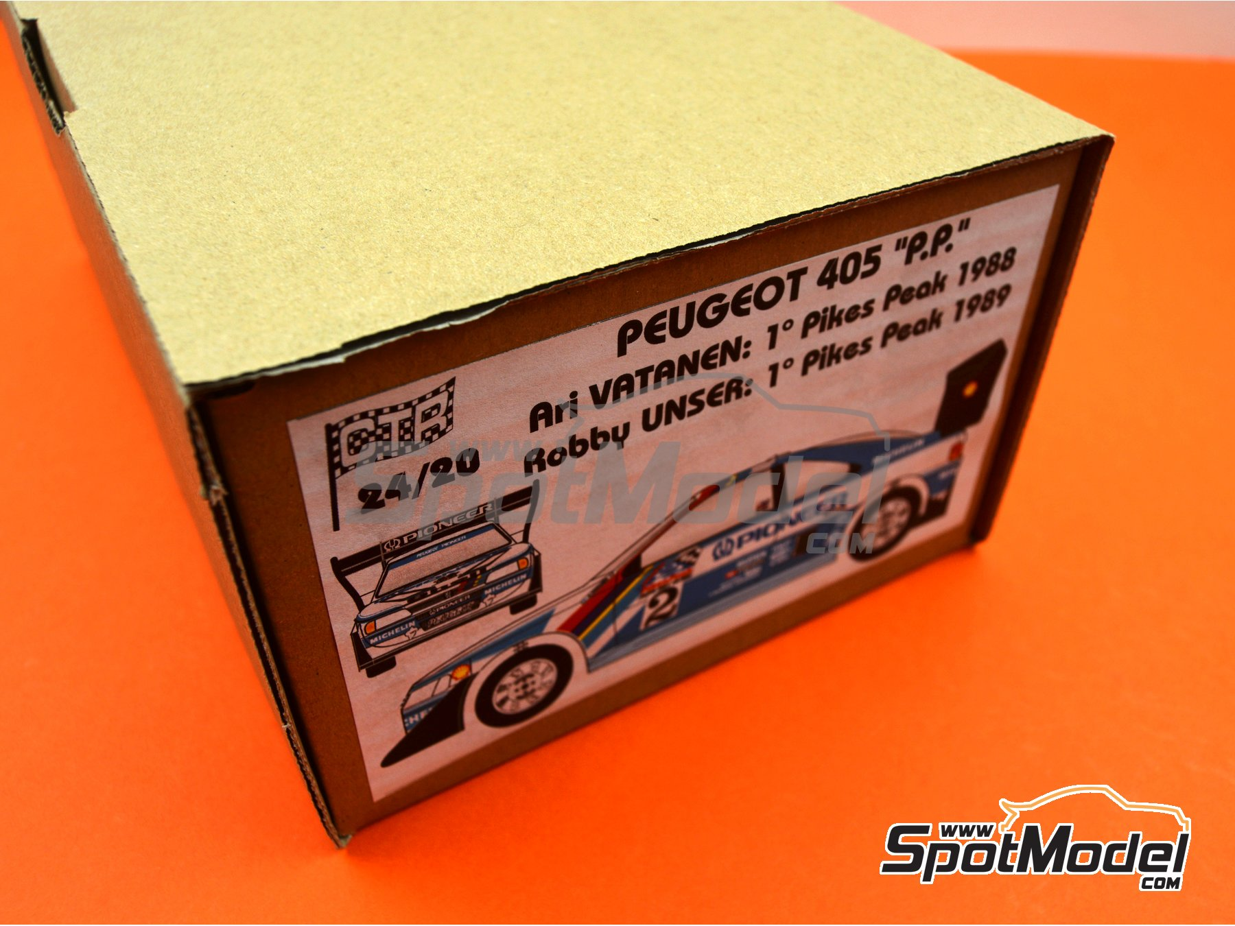 Image 25: Peugeot 405 T16 Pioneer - Pikes Peak Climb Hill Race 1988 and 1989 | Model car kit in 1/24 scale manufactured by Renaissance Models (ref.CTR2420)