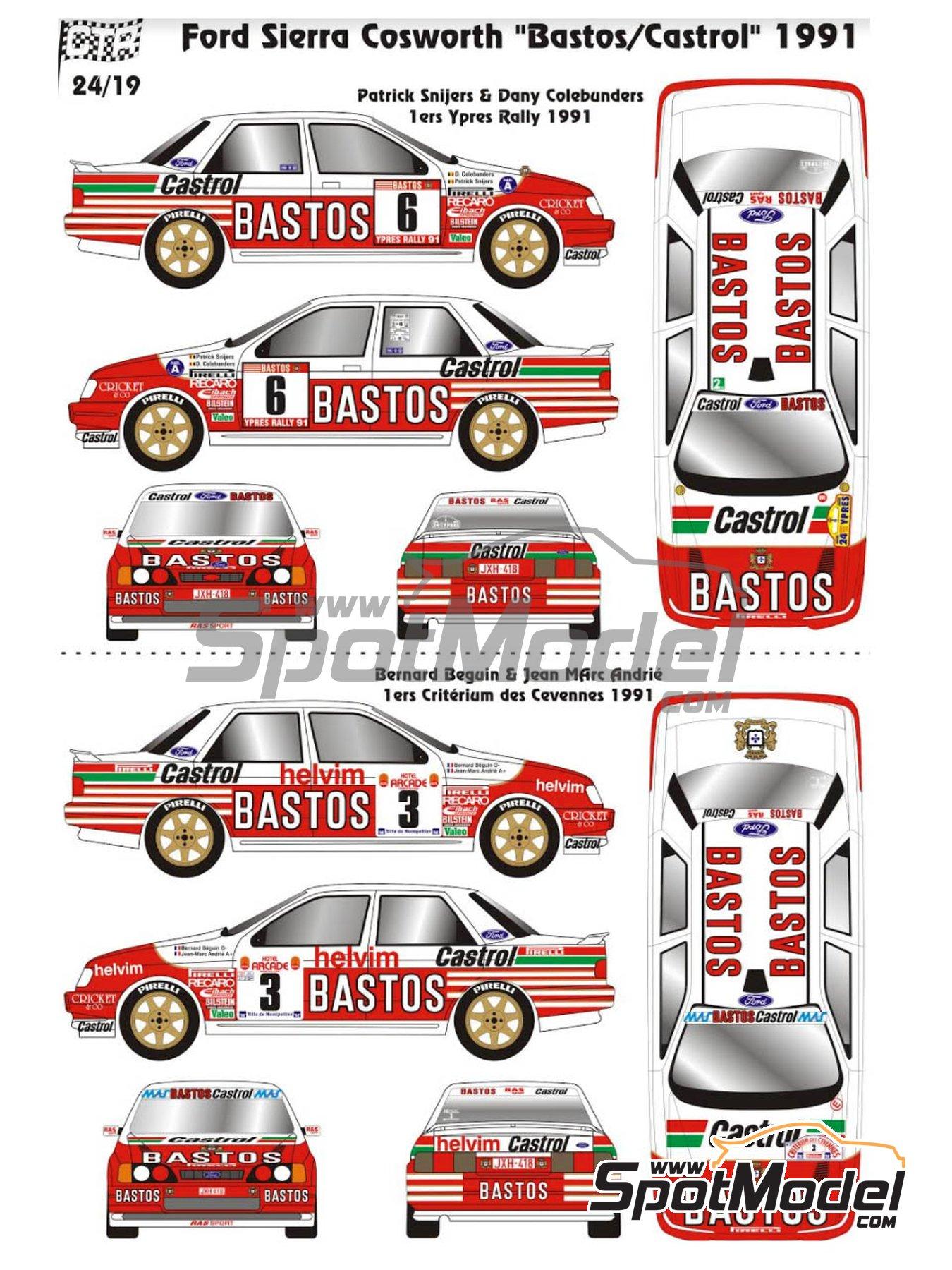 Ford Sierra Cosworth 4x4 Grupo A Bastos Castrol - Rally de Ypres de Belgica, Rallye Critérium des Cévennes 1991 | Maqueta de coche en escala1/24 fabricado por Renaissance Models (ref.CTR2424) image