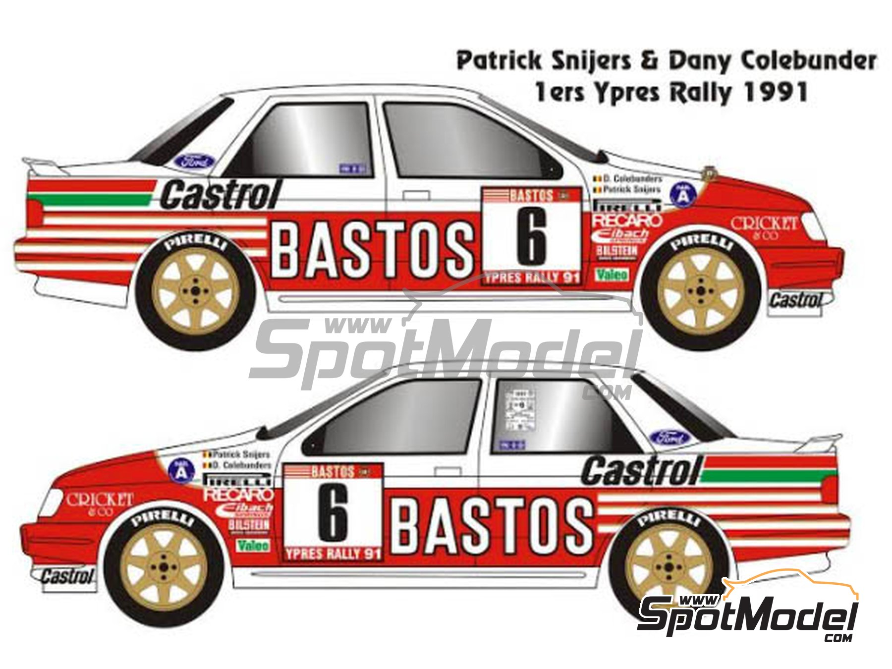 Image 1: Ford Sierra Cosworth 4x4 Grupo A Bastos Castrol - Rally de Ypres de Belgica, Rallye Critérium des Cévennes 1991 | Maqueta de coche en escala1/24 fabricado por Renaissance Models (ref.CTR2424)