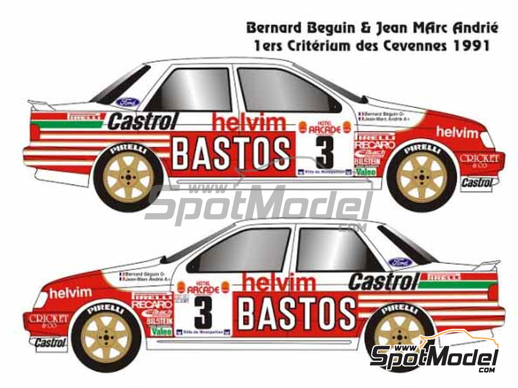 Image 2: Ford Sierra Cosworth 4x4 Group A Bastos Castrol - Ypres Rally, Rallye Critérium des Cévennes 1991 | Model car kit in 1/24 scale manufactured by Renaissance Models (ref. CTR2424, also CTR2424/BODY)