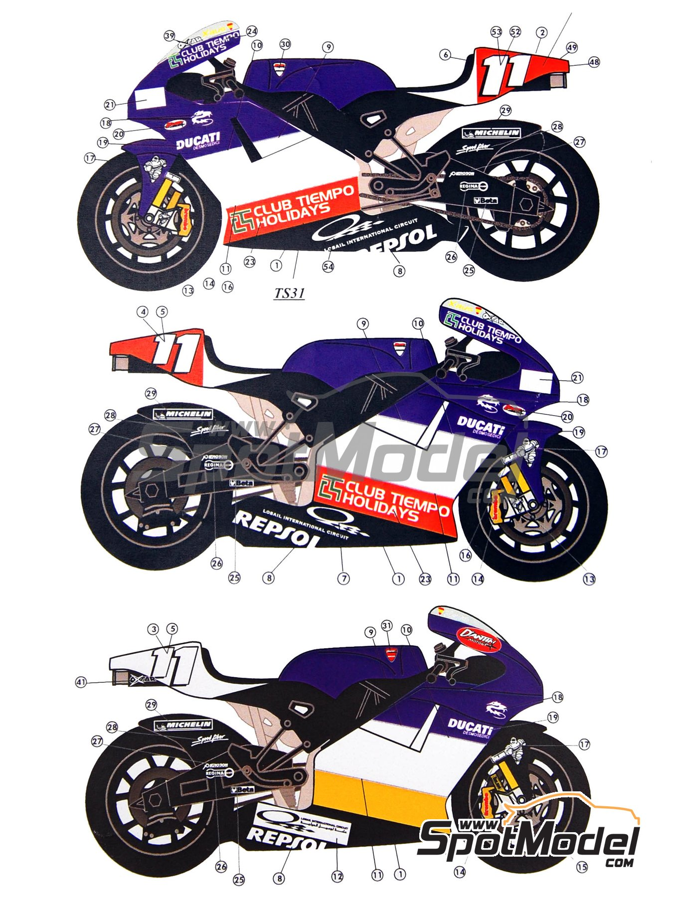 Ducati Desmosedici GP3 | Marking / livery in 1/12 scale manufactured by Renaissance Models (ref. MTK12-005) image