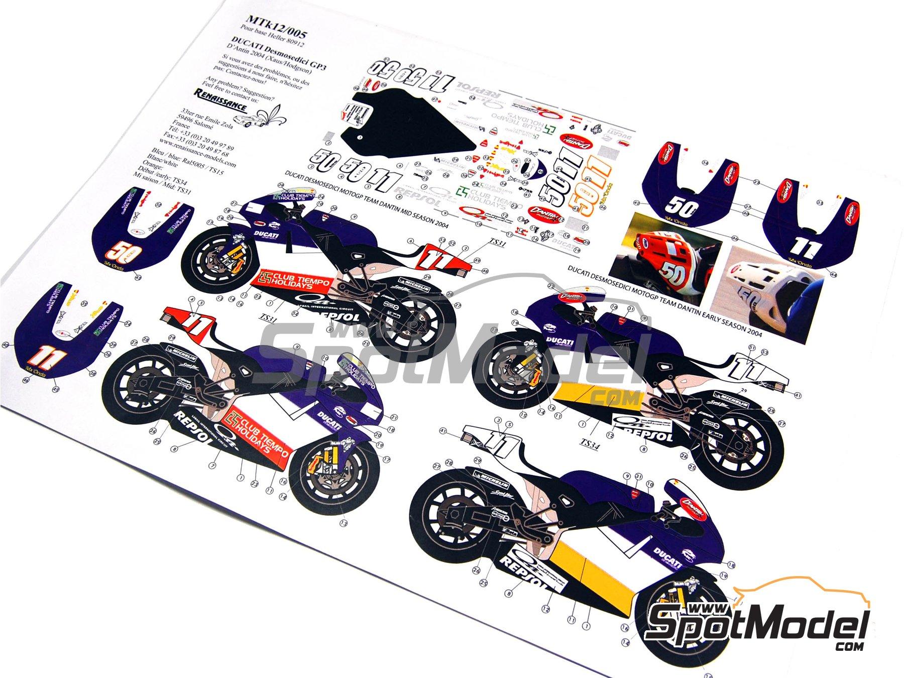 Image 1: Ducati Desmosedici GP3 | Decoración en escala1/12 fabricado por Renaissance Models (ref.MTK12-005)
