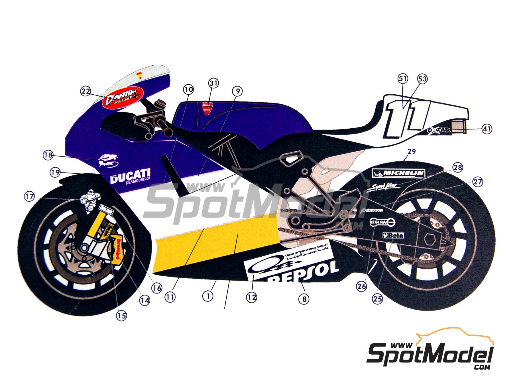Image 7: Ducati Desmosedici GP3 | Marking / livery in 1/12 scale manufactured by Renaissance Models (ref. MTK12-005)