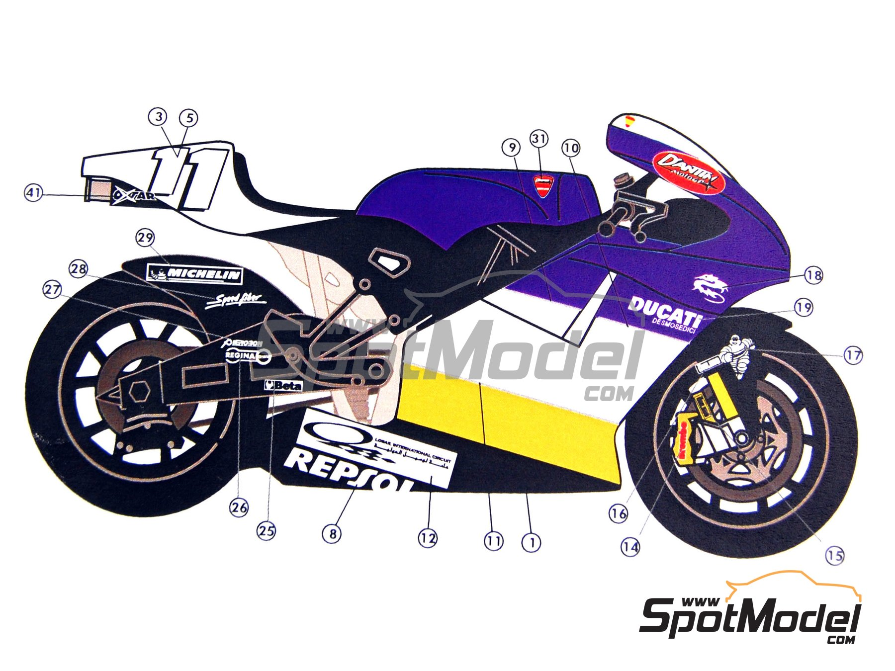 Image 8: Ducati Desmosedici GP3 | Marking / livery in 1/12 scale manufactured by Renaissance Models (ref. MTK12-005)
