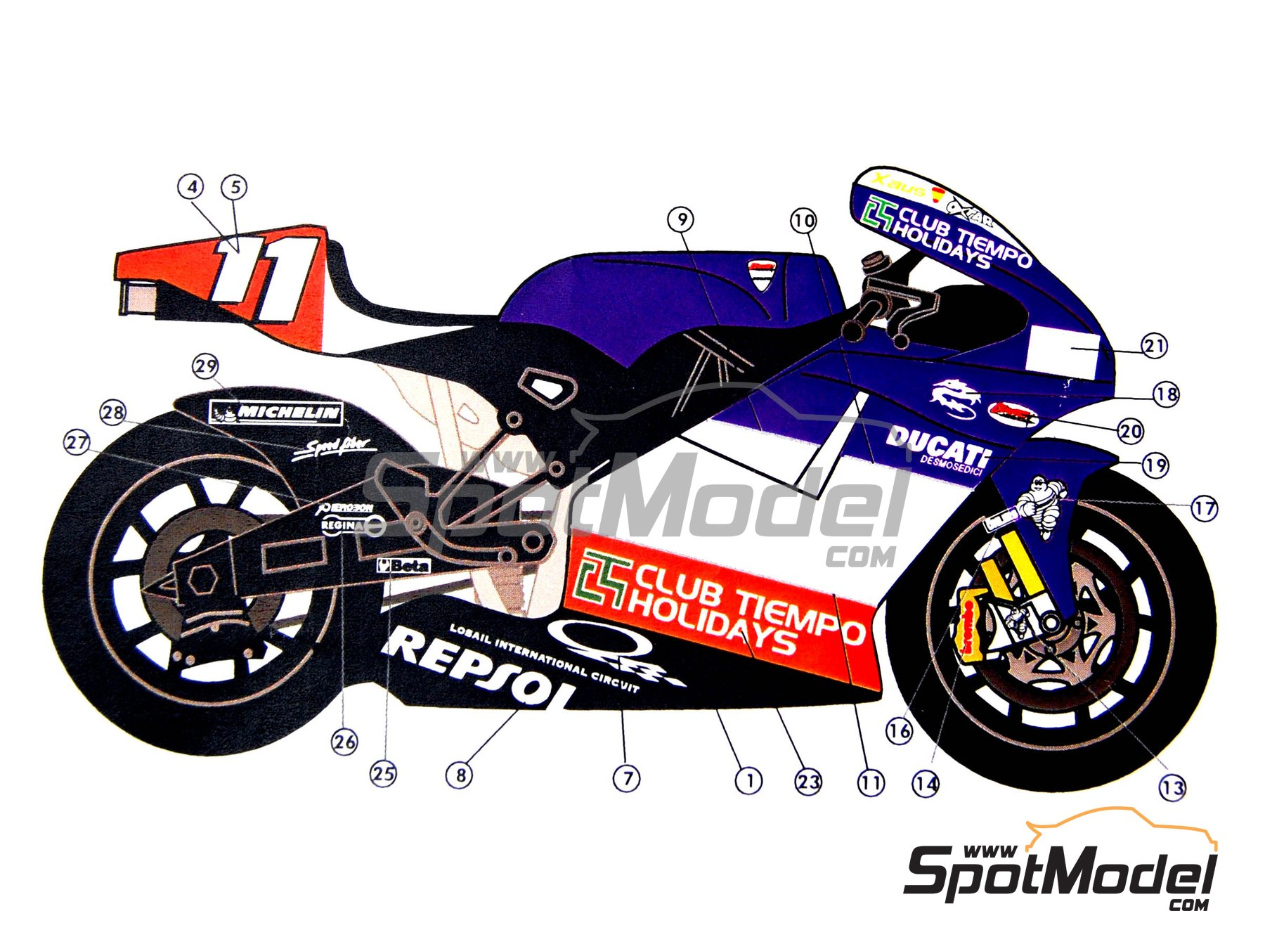 Image 9: Ducati Desmosedici GP3 | Marking / livery in 1/12 scale manufactured by Renaissance Models (ref. MTK12-005)