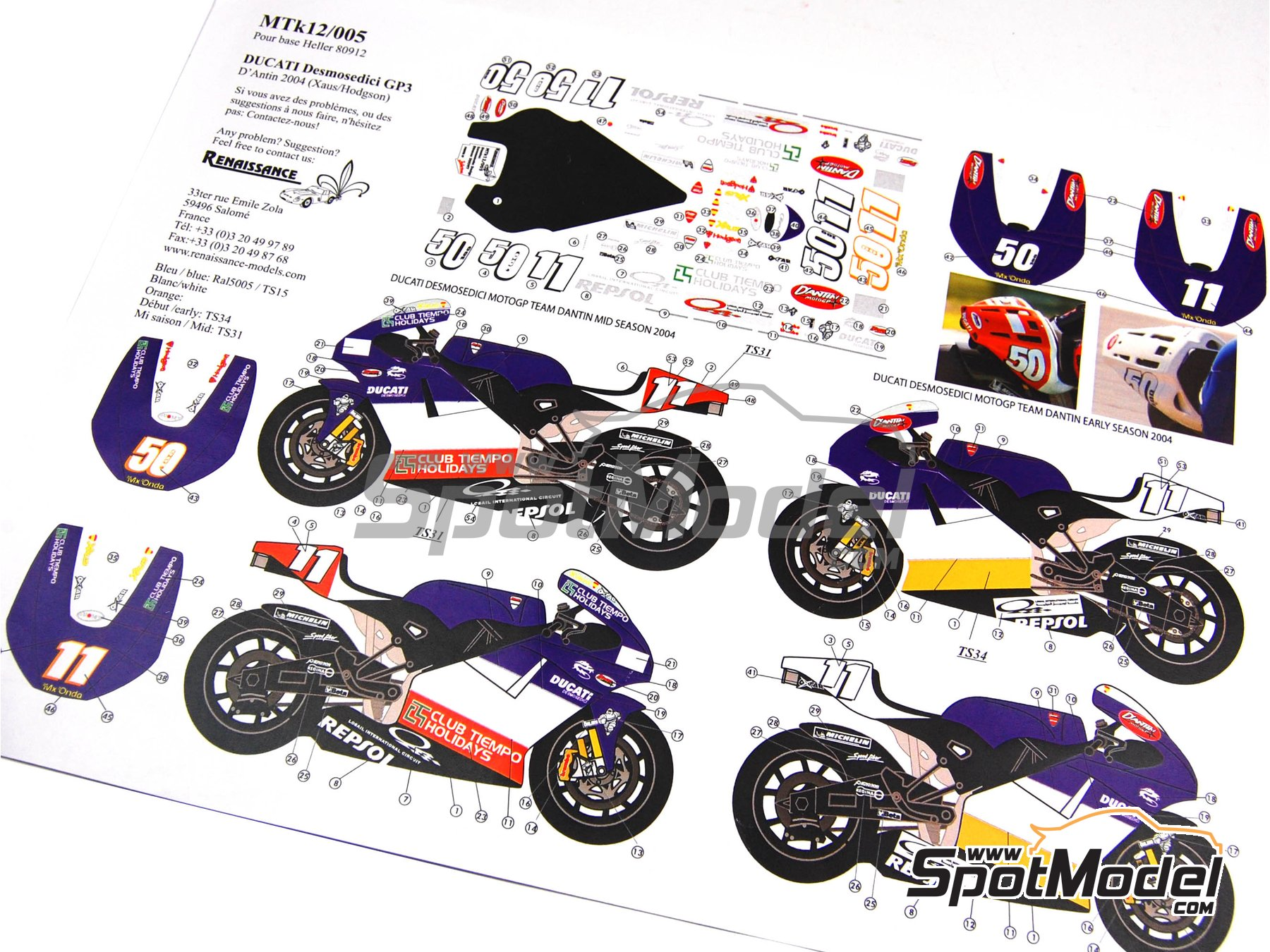Image 11: Ducati Desmosedici GP3 | Marking / livery in 1/12 scale manufactured by Renaissance Models (ref. MTK12-005)