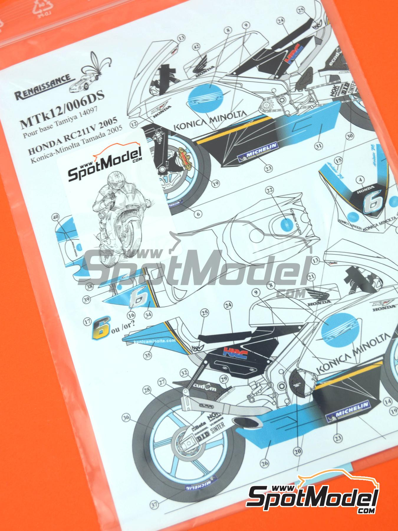 Honda RC211V Minolta | Marking / livery in 1/12 scale manufactured by Renaissance Models (ref.MTK12-006DS) image