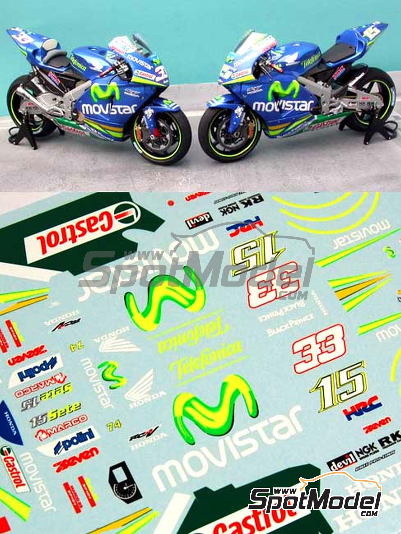 Honda RC211V Telefonica Movistar Team Gresini - Motorcycle World Championship 2005 | Marking / livery in 1/12 scale manufactured by Renaissance Models (ref.MTK12-009DS) image