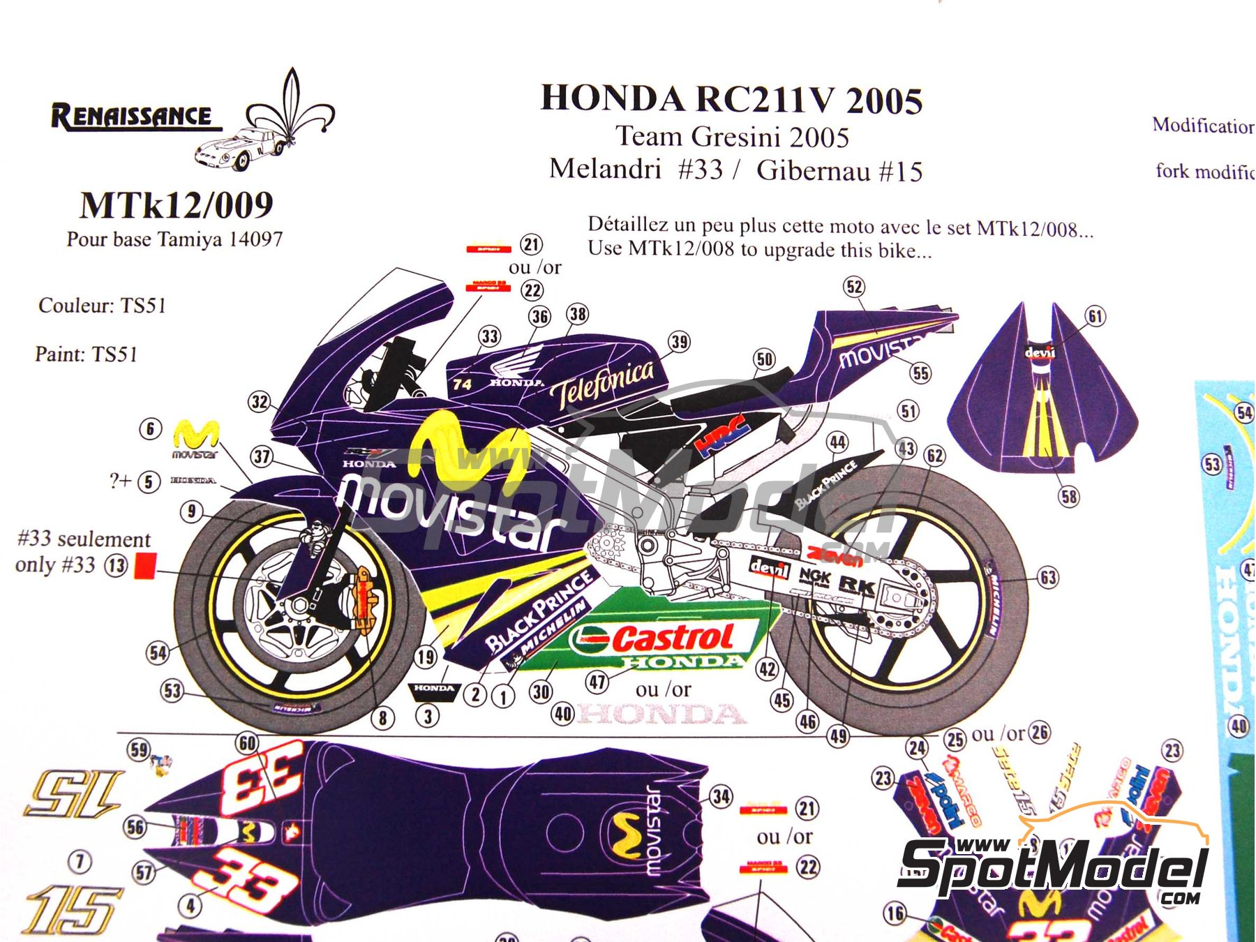 Image 2: Honda RC211V Telefonica Movistar Team Gresini - Motorcycle World Championship 2005 | Marking / livery in 1/12 scale manufactured by Renaissance Models (ref.MTK12-009DS)
