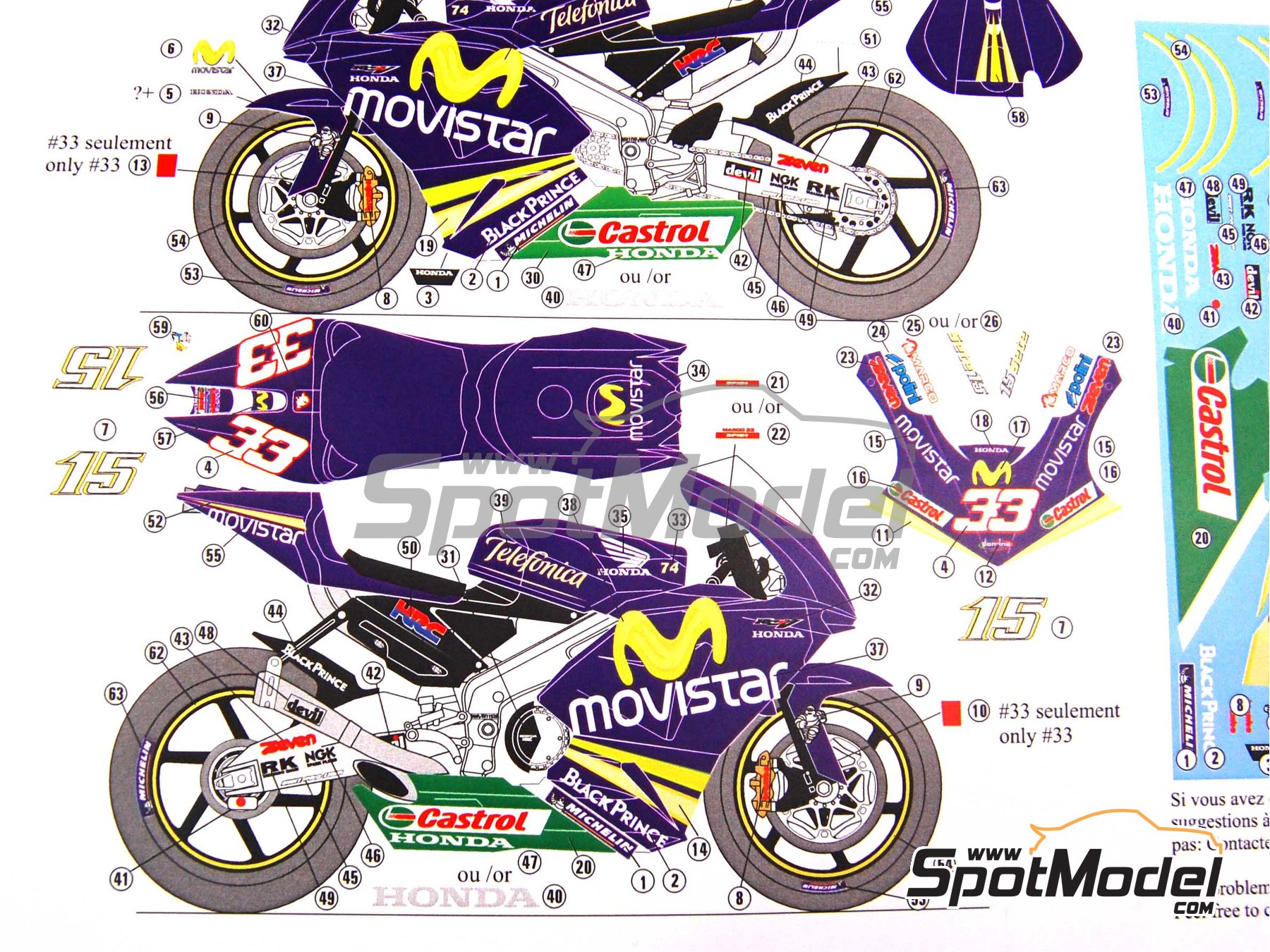 Image 3: Honda RC211V Telefonica Movistar Team Gresini - Motorcycle World Championship 2005 | Marking / livery in 1/12 scale manufactured by Renaissance Models (ref.MTK12-009DS)
