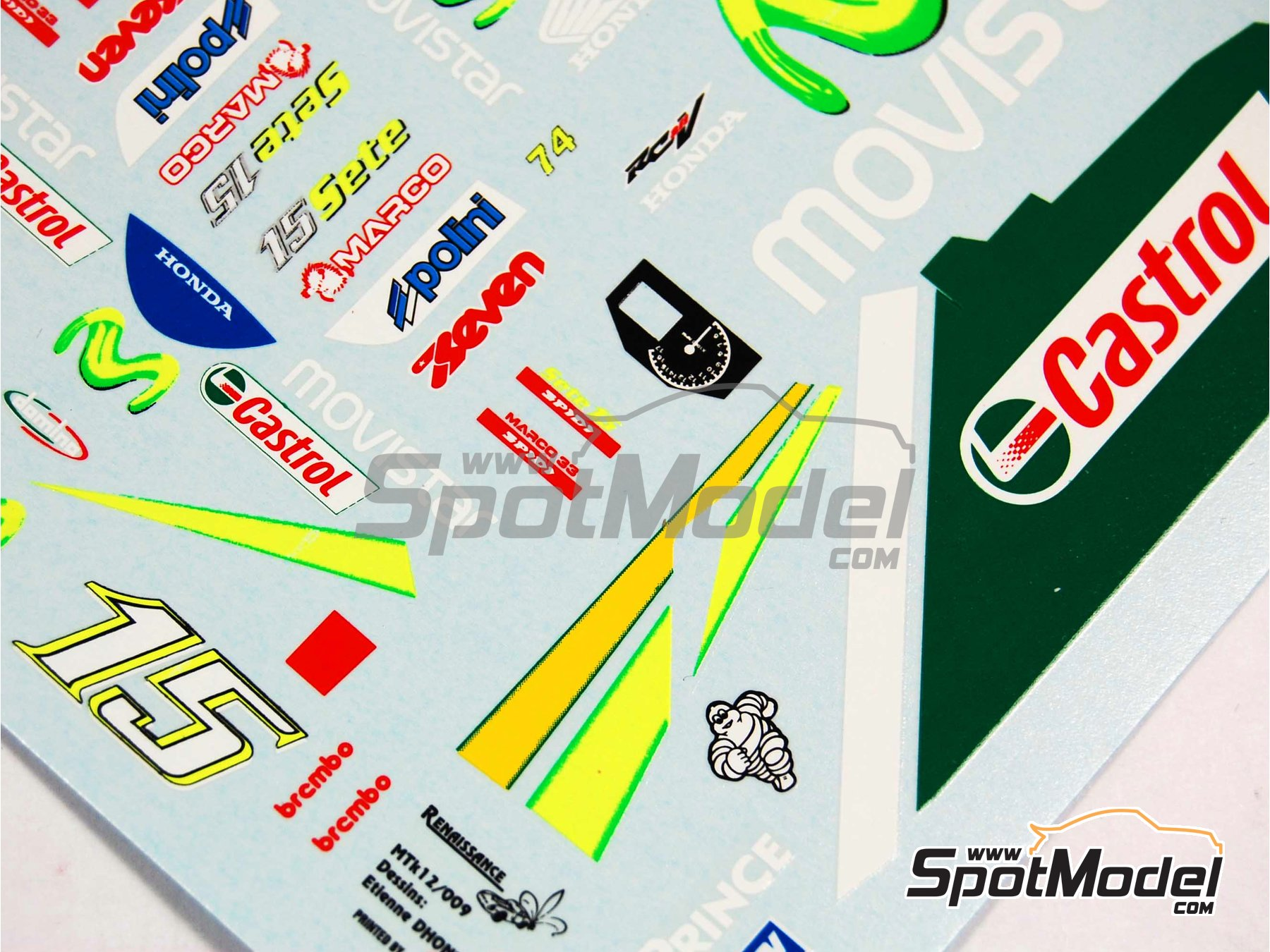 Image 6: Honda RC211V Telefonica Movistar Team Gresini - Motorcycle World Championship 2005 | Marking / livery in 1/12 scale manufactured by Renaissance Models (ref.MTK12-009DS)