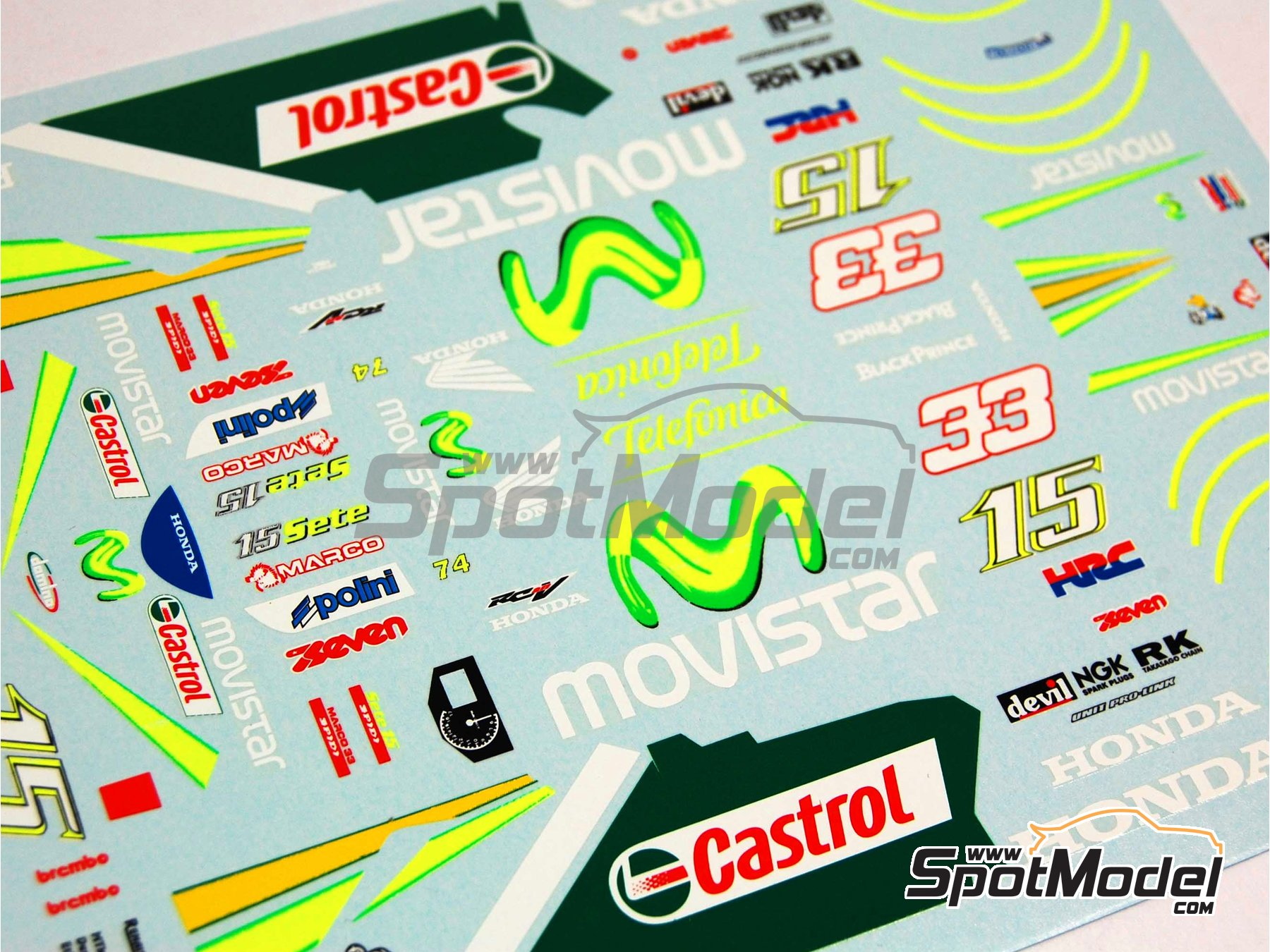 Image 9: Honda RC211V Telefonica Movistar Team Gresini - Motorcycle World Championship 2005 | Marking / livery in 1/12 scale manufactured by Renaissance Models (ref.MTK12-009DS)
