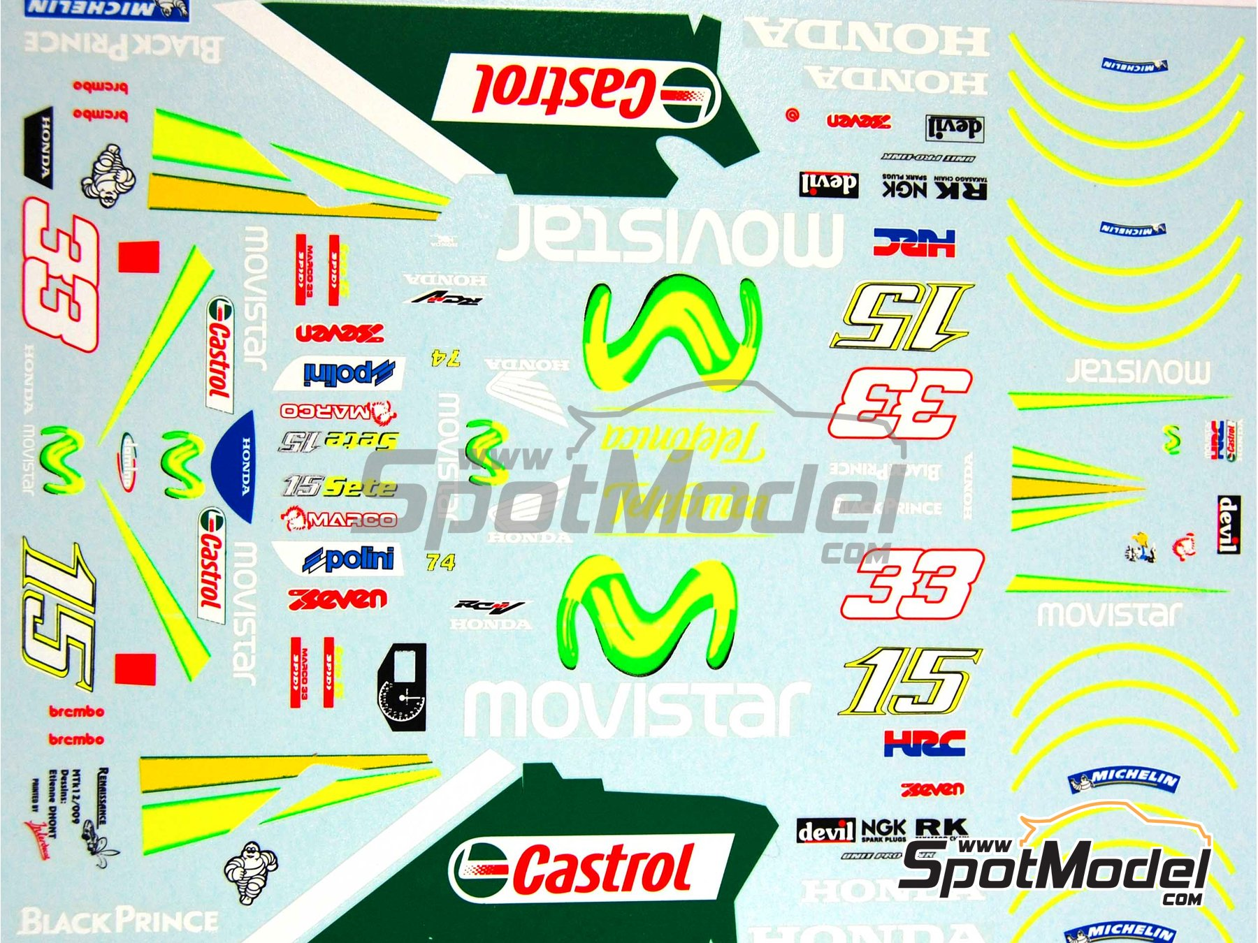 Image 10: Honda RC211V Telefonica Movistar Team Gresini - Motorcycle World Championship 2005 | Marking / livery in 1/12 scale manufactured by Renaissance Models (ref.MTK12-009DS)