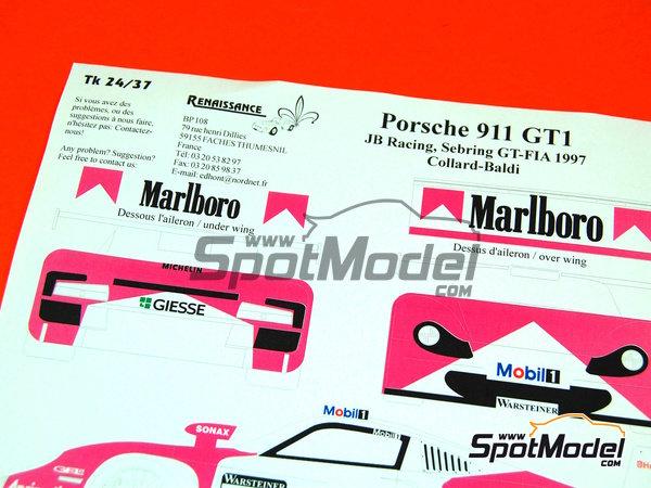 renaissance models decals 1 24 scale porsche 911 gt1 evo 97 marlboro jb racing 17 emmanuel. Black Bedroom Furniture Sets. Home Design Ideas