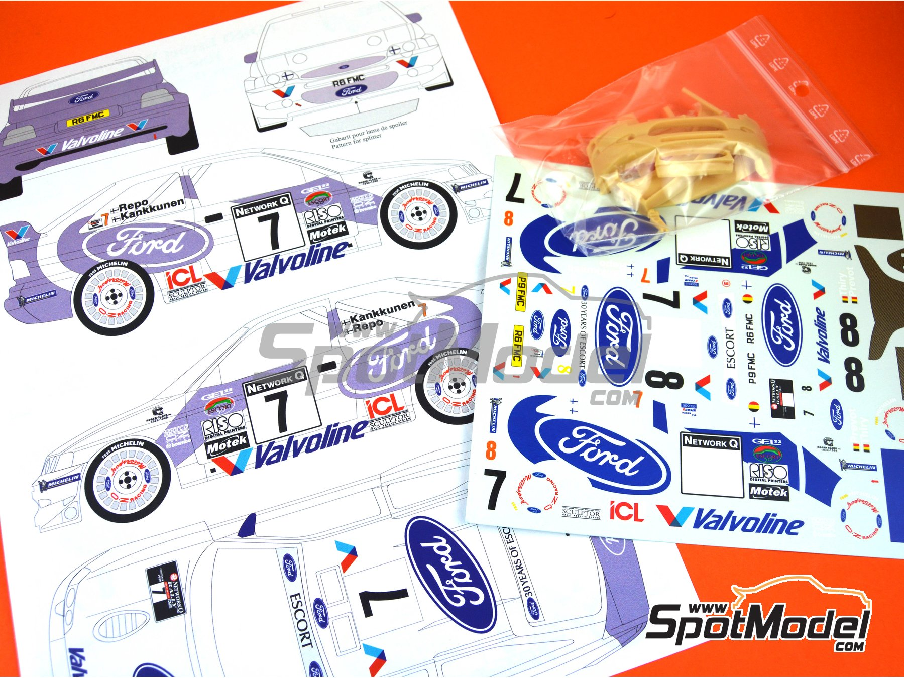 Image 6: Ford Escort WRC Valvoline - Great Britain RAC Rally 1998 | Marking / livery in 1/24 scale manufactured by Renaissance Models (ref. TK24-017)