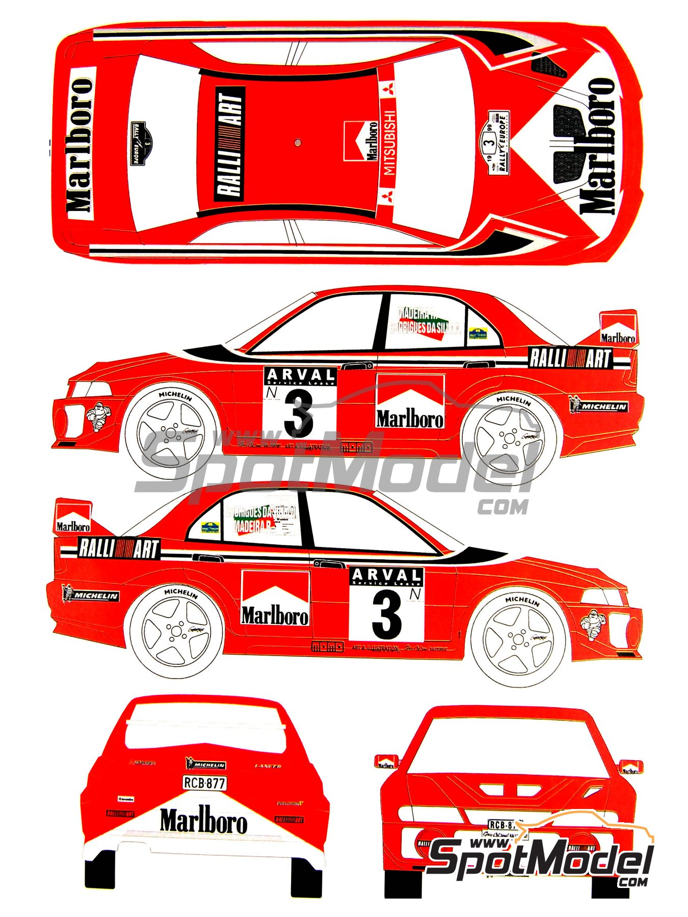 Mitsubishi Lancer Evo V Marlboro Ralli Art - Luxembourg rally 1999 | Marking / livery in 1/24 scale manufactured by Renaissance Models (ref.TK24-027) image