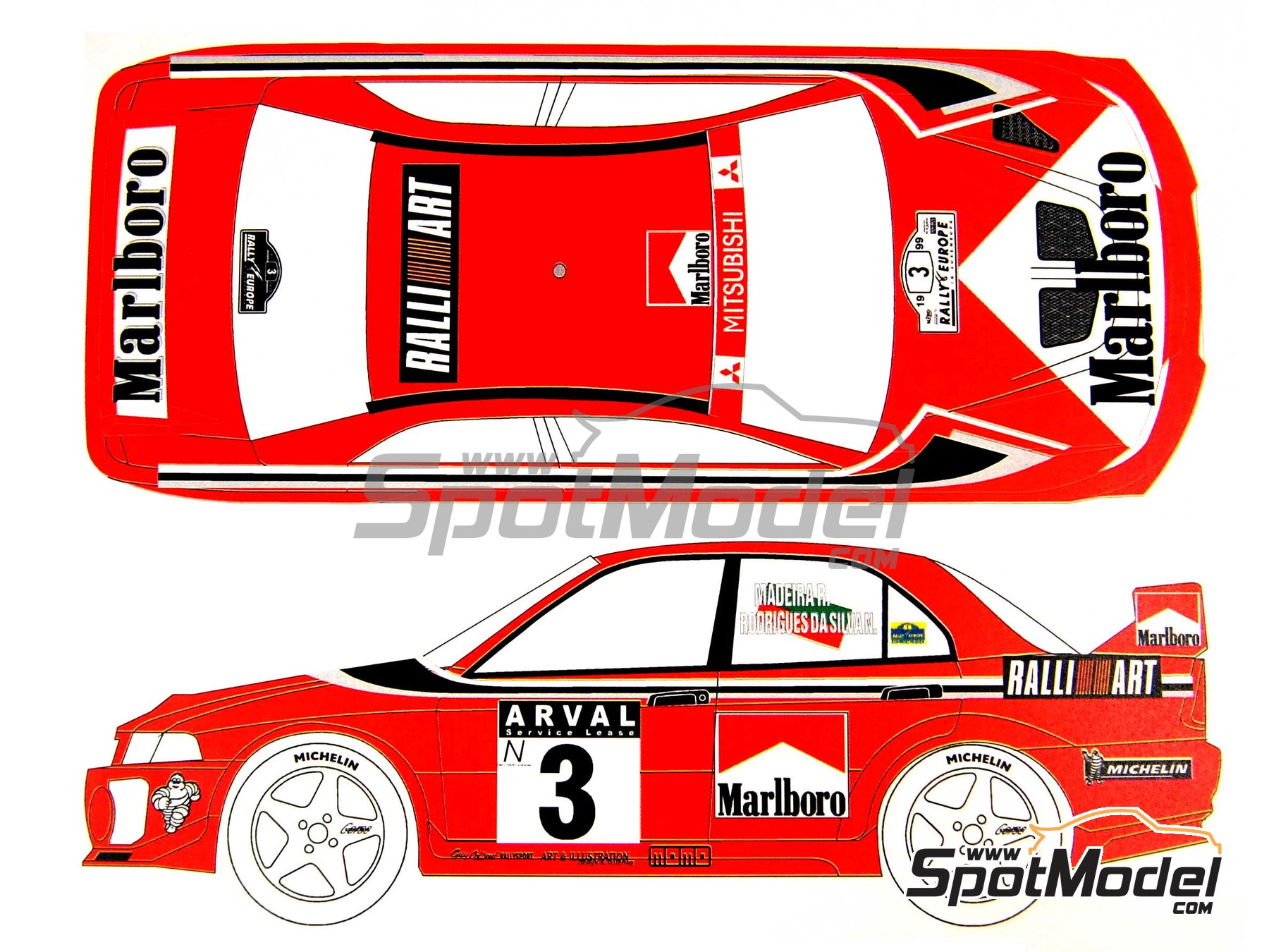 Image 1: Mitsubishi Lancer Evo V Marlboro Ralli Art - Luxembourg rally 1999 | Marking / livery in 1/24 scale manufactured by Renaissance Models (ref.TK24-027)