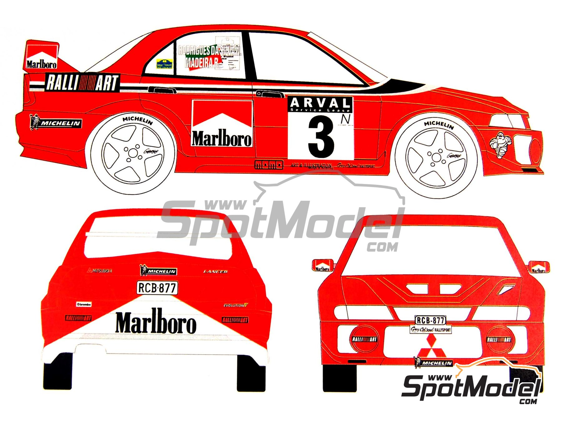 Image 2: Mitsubishi Lancer Evo V Marlboro Ralli Art - Luxembourg rally 1999 | Marking / livery in 1/24 scale manufactured by Renaissance Models (ref.TK24-027)