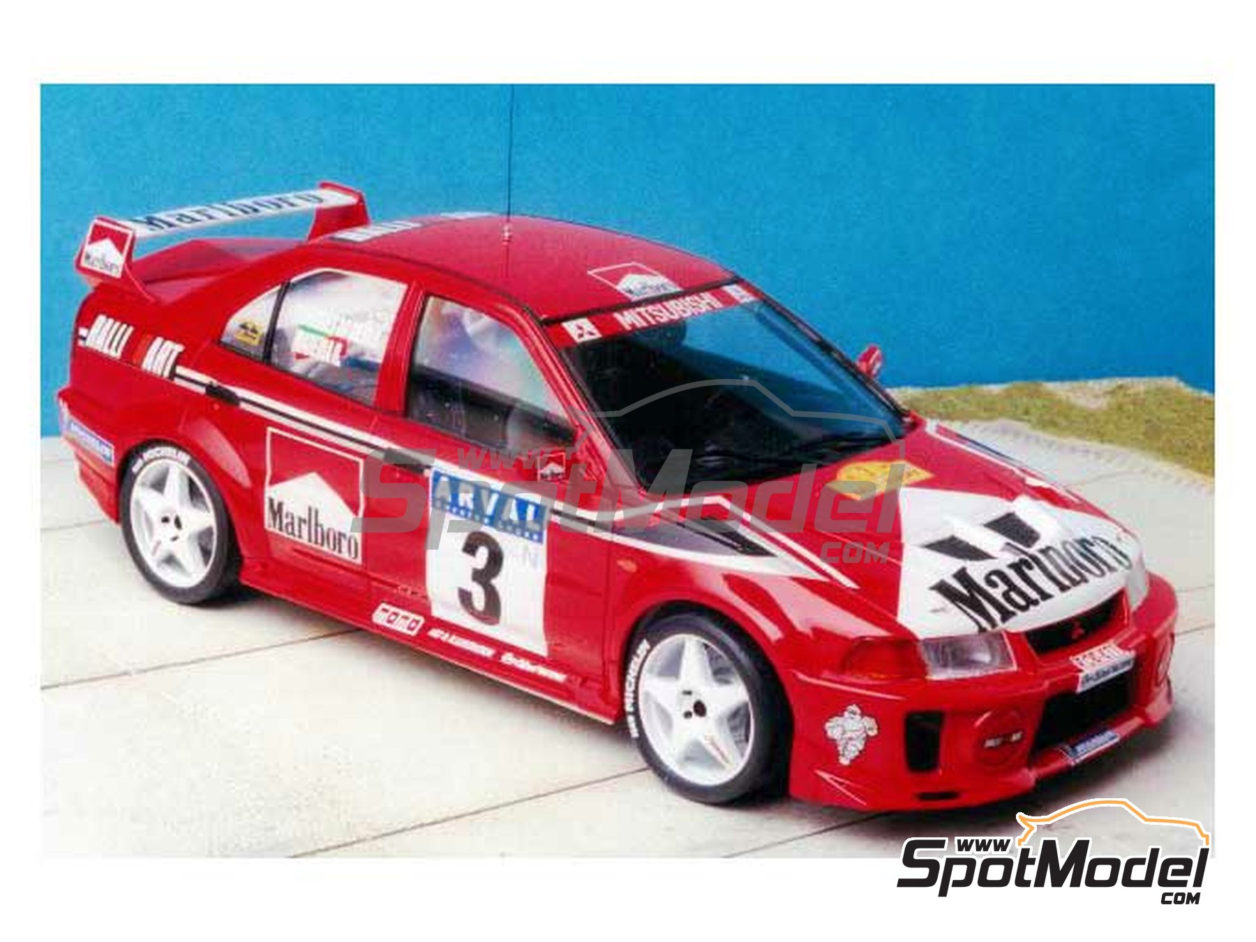 Image 5: Mitsubishi Lancer Evo V Marlboro Ralli Art - Luxembourg rally 1999 | Marking / livery in 1/24 scale manufactured by Renaissance Models (ref.TK24-027)