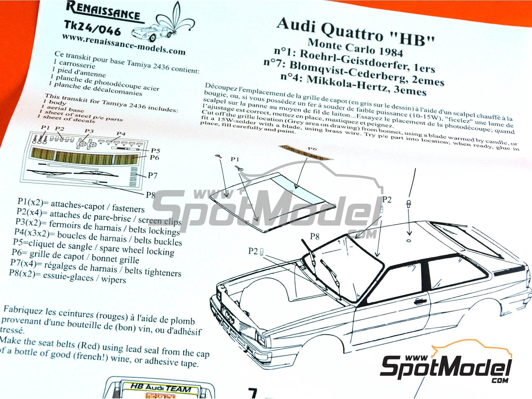 Image 13: Audi Quattro Group B HB - Rally de Montecarlo 1984 | Decoración en escala1/24 fabricado por Renaissance Models (ref.TK24-046)