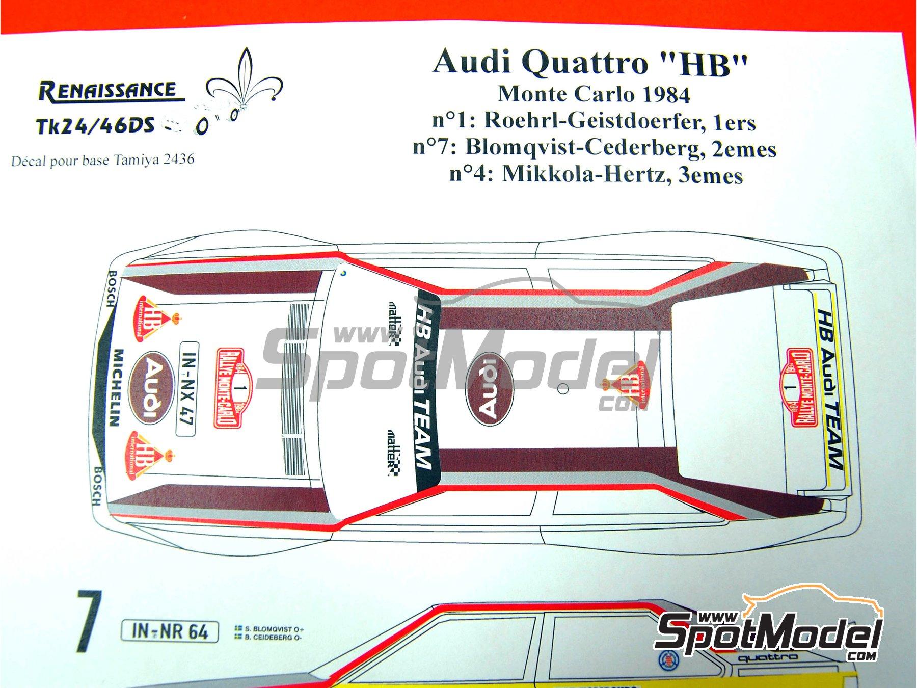 Image 3: Audi Quattro Grupo B HB - Rally de Montecarlo 1984 | Decoración en escala1/24 fabricado por Renaissance Models (ref.TK24-046DS)