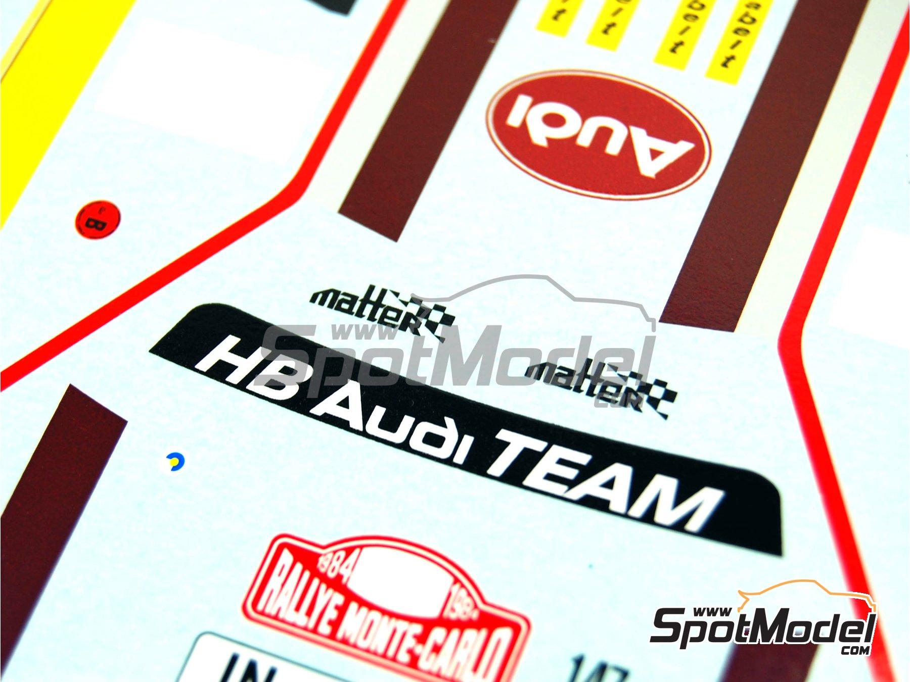 Image 10: Audi Quattro Grupo B HB - Rally de Montecarlo 1984 | Decoración en escala1/24 fabricado por Renaissance Models (ref.TK24-046DS)