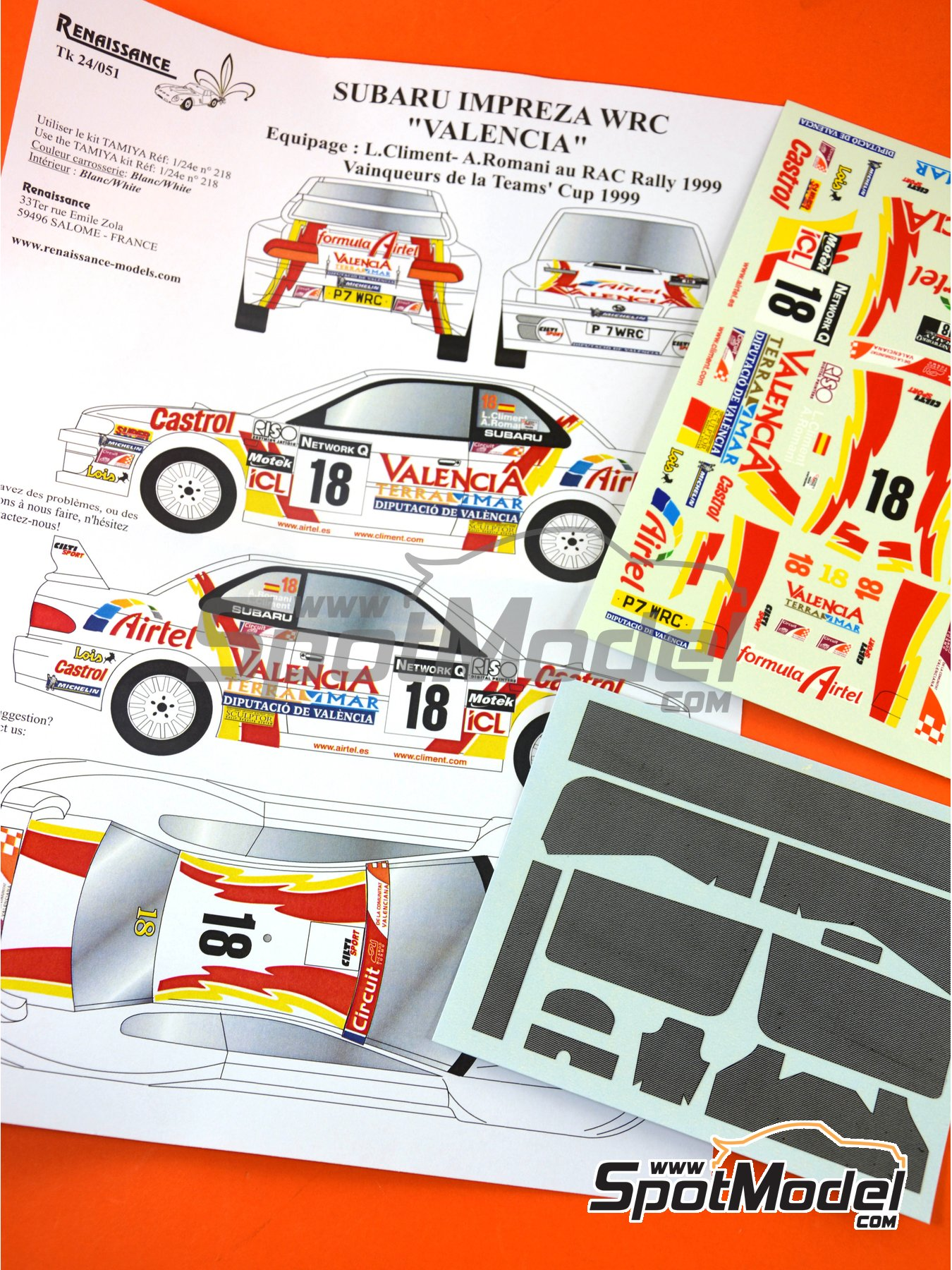 Subaru Impreza WRC Airtel - Great Britain RAC Rally 1999 | Marking / livery in 1/24 scale manufactured by Renaissance Models (ref. TK24-051) image