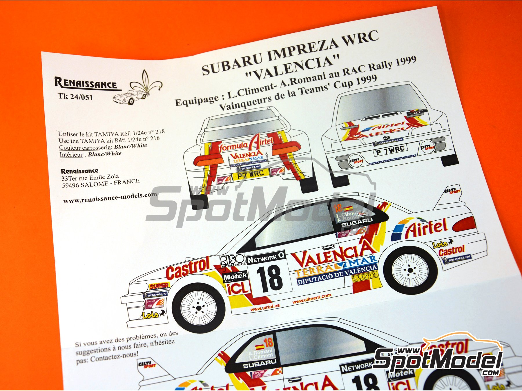 Image 7: Subaru Impreza WRC - RAC Rally 1999 | Marking / livery in 1/24 scale manufactured by Renaissance Models (ref. TK24-051)