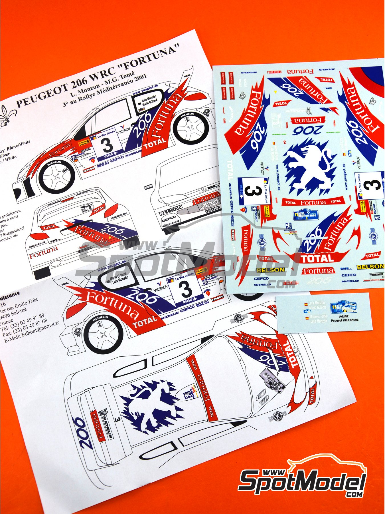 Peugeot 206 WRC Fortuna - Mediterraneo Rally 2001 | Marking / livery in 1/24 scale manufactured by Renaissance Models (ref. TK24-086) image
