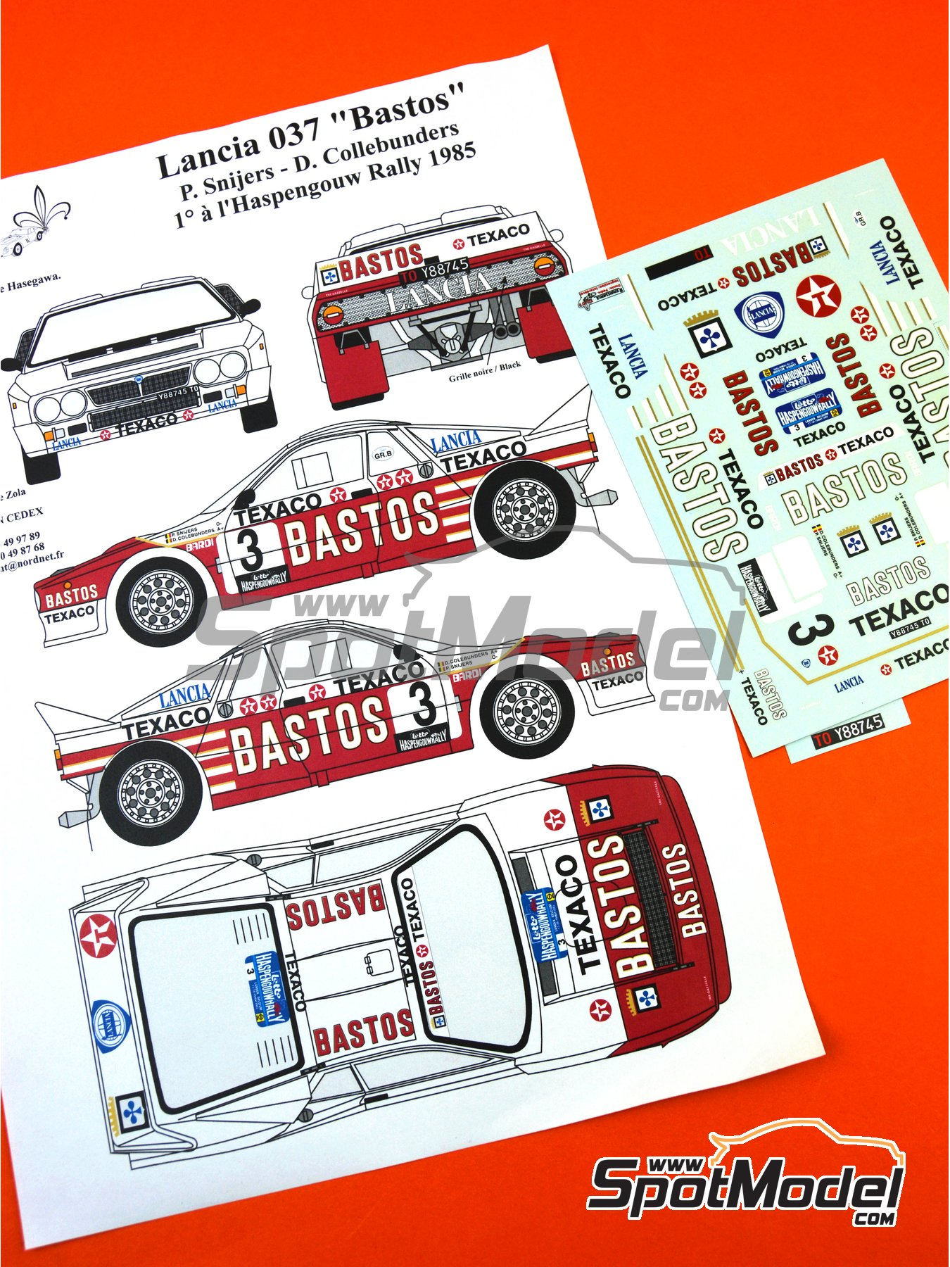 Lancia Rally 037 Bastos Texaco - Haspengow Rally 1985 | Marking / livery in 1/24 scale manufactured by Renaissance Models (ref.TK24-107) image