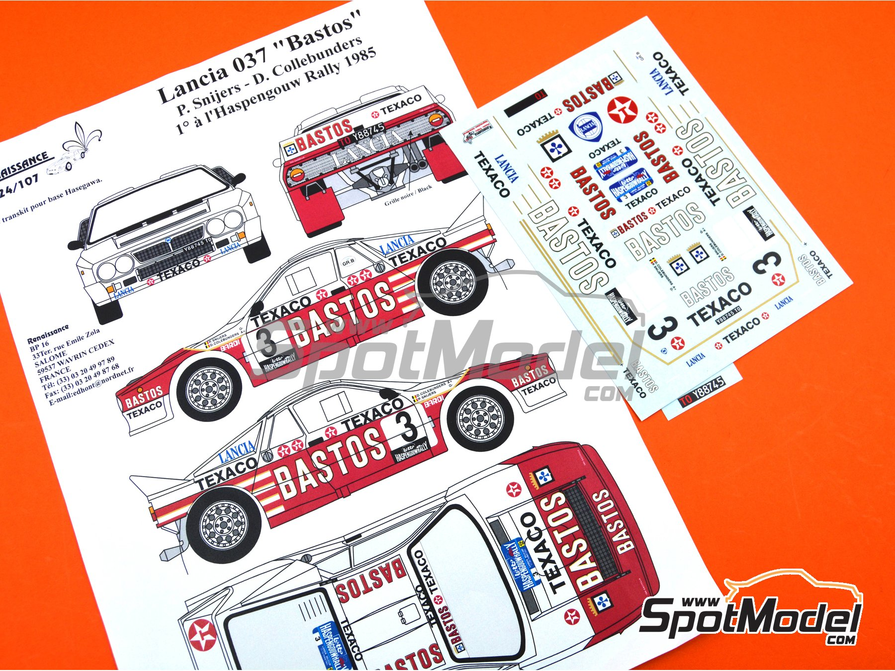 Image 1: Lancia Rally 037 Bastos Texaco - Haspengow Rally 1985 | Marking / livery in 1/24 scale manufactured by Renaissance Models (ref.TK24-107)