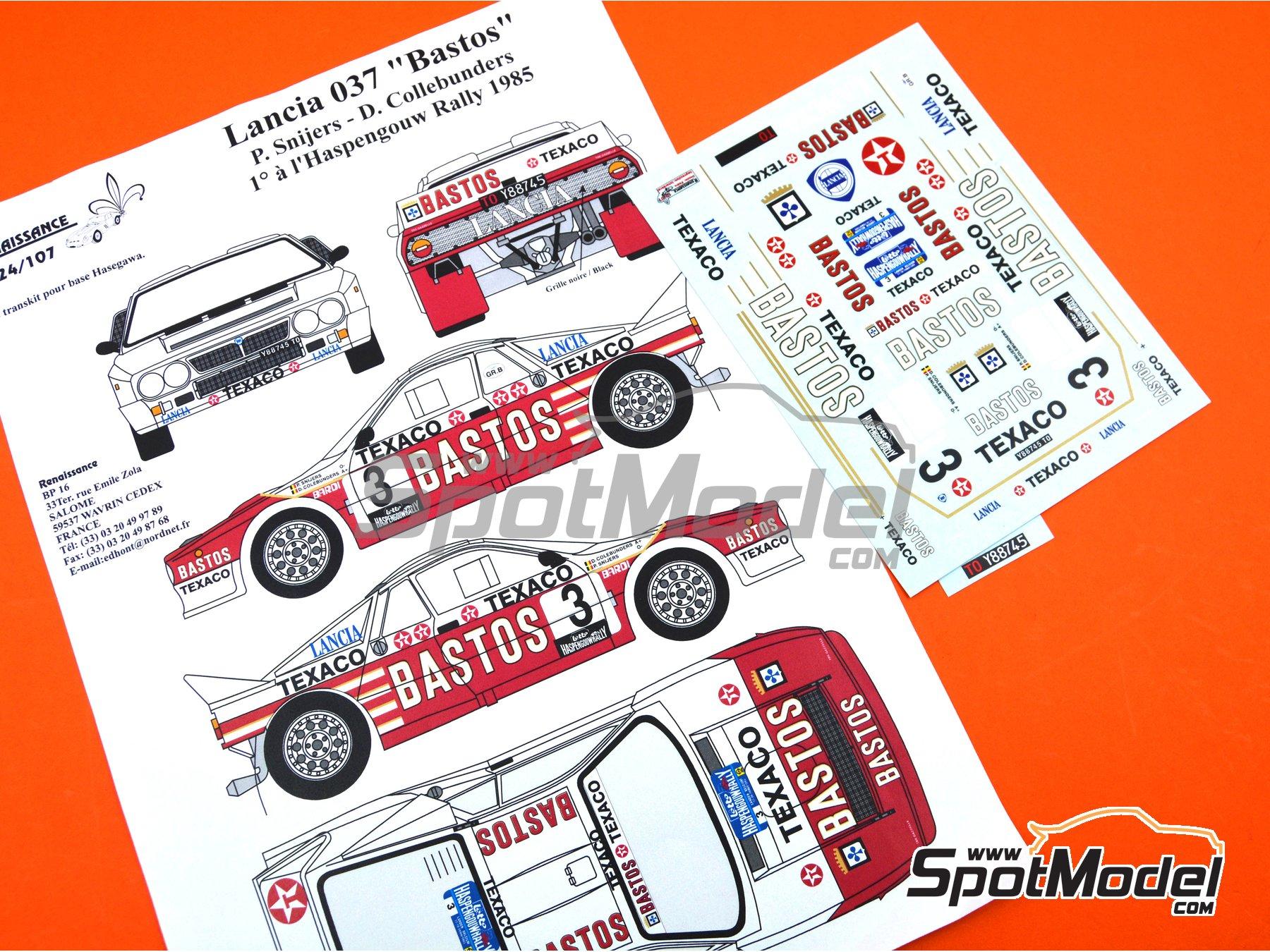 Image 1: Lancia Rally 037 Bastos Texaco - Rally Haspengouw de Belgica 1985 | Decoración en escala1/24 fabricado por Renaissance Models (ref.TK24-107)