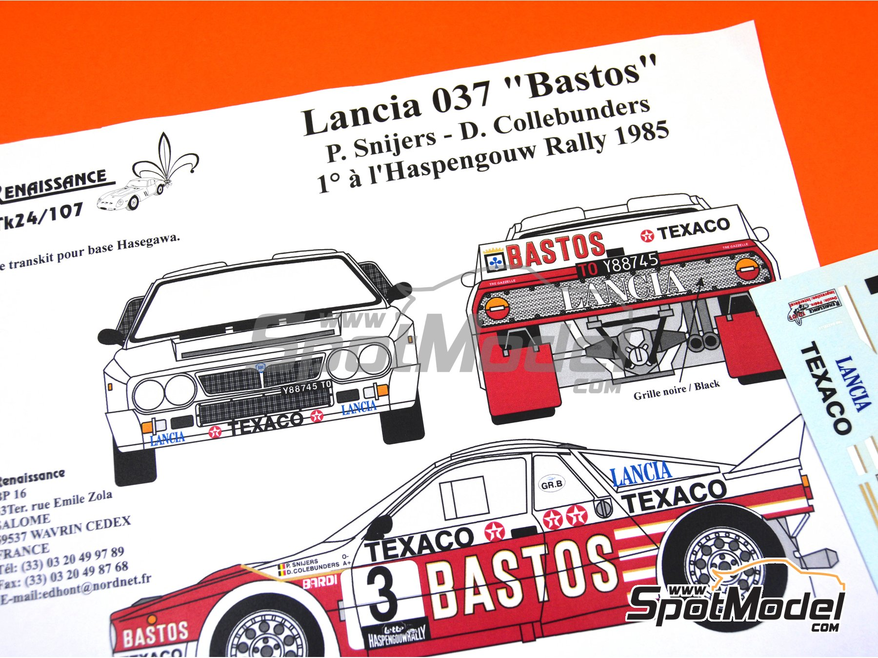 Image 2: Lancia Rally 037 Bastos Texaco - Haspengow Rally 1985 | Marking / livery in 1/24 scale manufactured by Renaissance Models (ref.TK24-107)