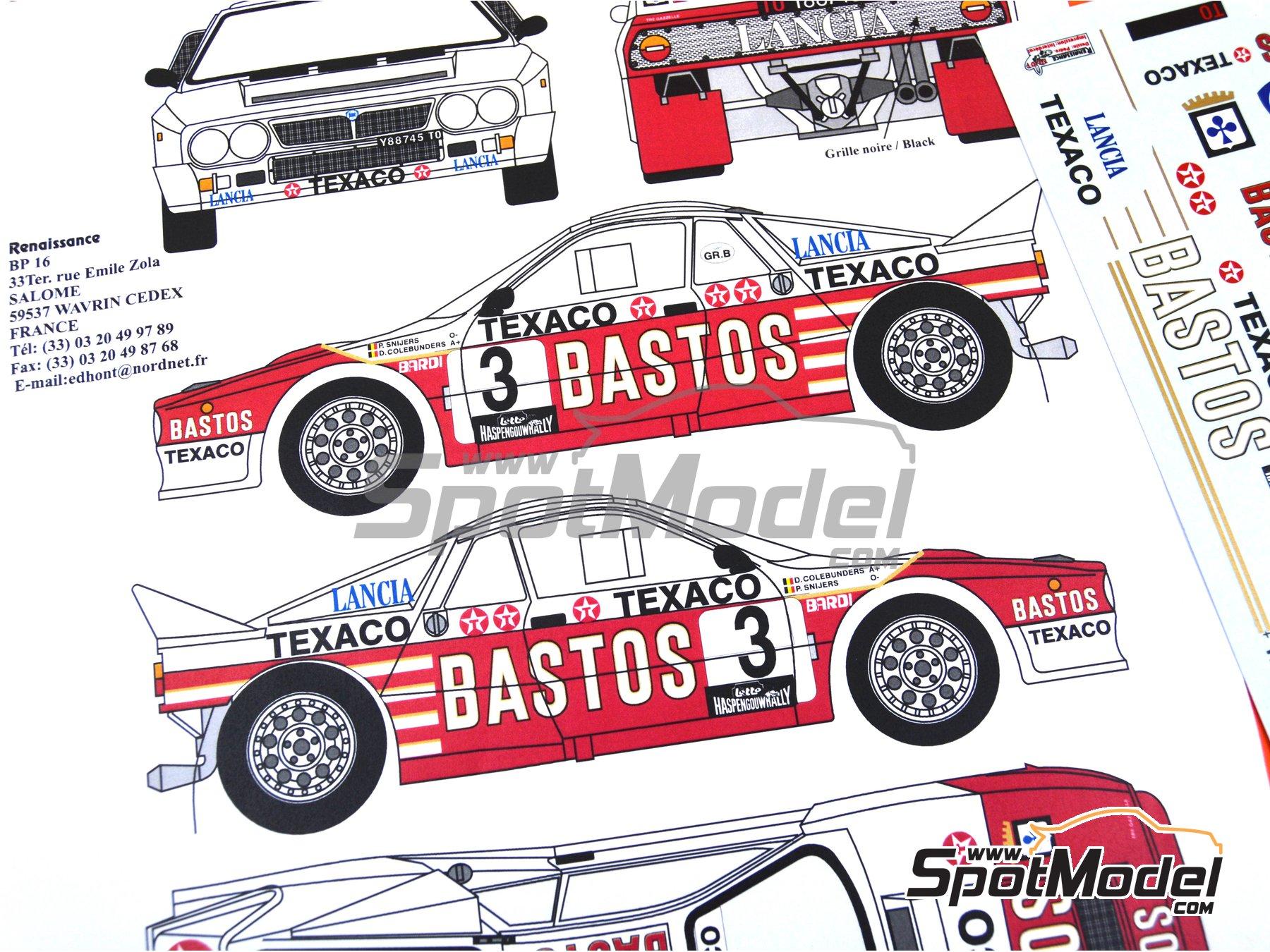 Image 3: Lancia Rally 037 Bastos Texaco - Rally Haspengouw de Belgica 1985 | Decoración en escala1/24 fabricado por Renaissance Models (ref.TK24-107)