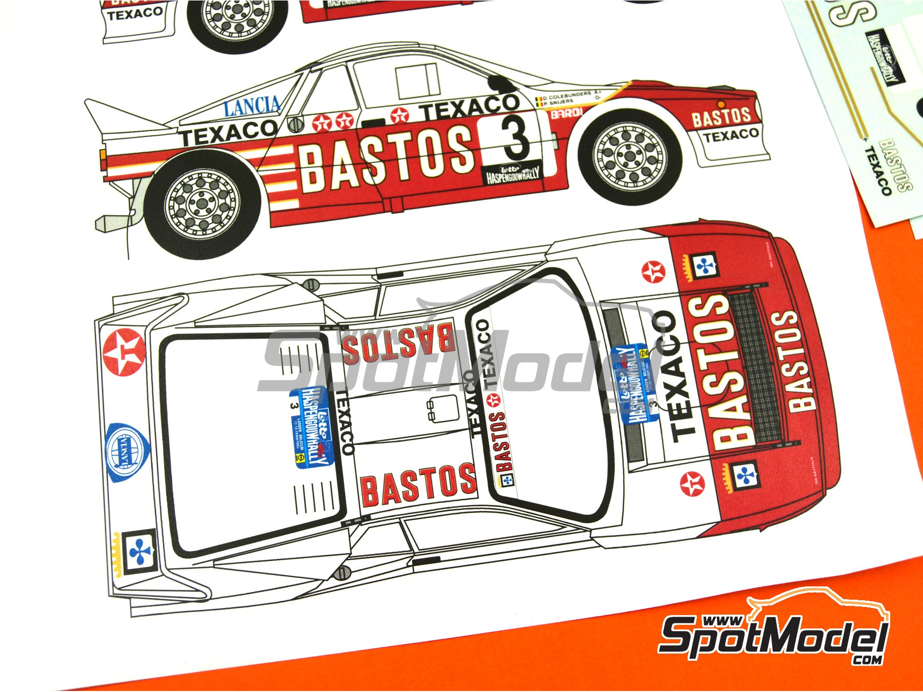 Image 4: Lancia Rally 037 Bastos Texaco - Haspengow Rally 1985 | Marking / livery in 1/24 scale manufactured by Renaissance Models (ref.TK24-107)