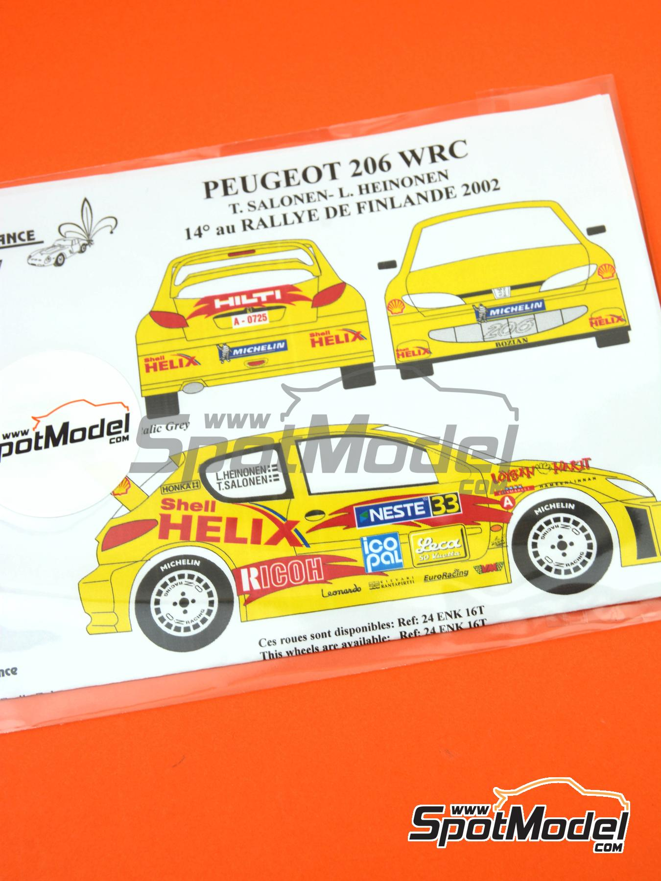 Peugeot 206 WRC | Marking / livery in 1/24 scale manufactured by Renaissance Models (ref. TK24-137) image